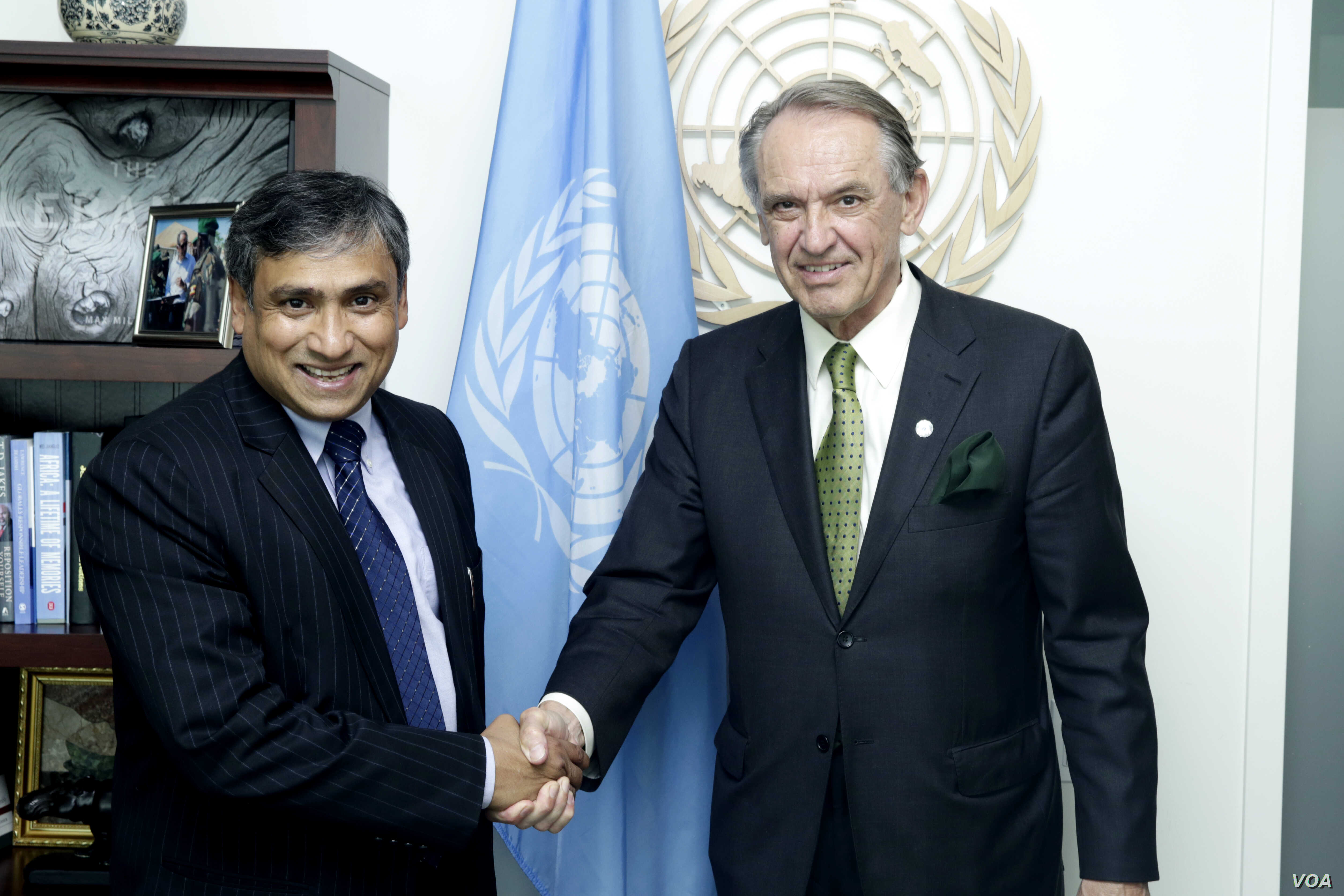 FILE - Then-Deputy Secretary-General Jan Eliasson, right, meets with Tapan Mishra, incoming United Nations Resident Coordinator and United Nations Development Program Resident Representative for the Democratic People's Republic of Korea, June 5, 2015...