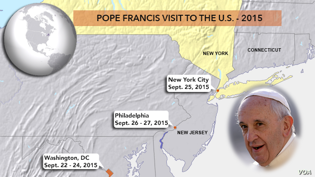 Pope itinerary, Sept 22 - 27, 2015