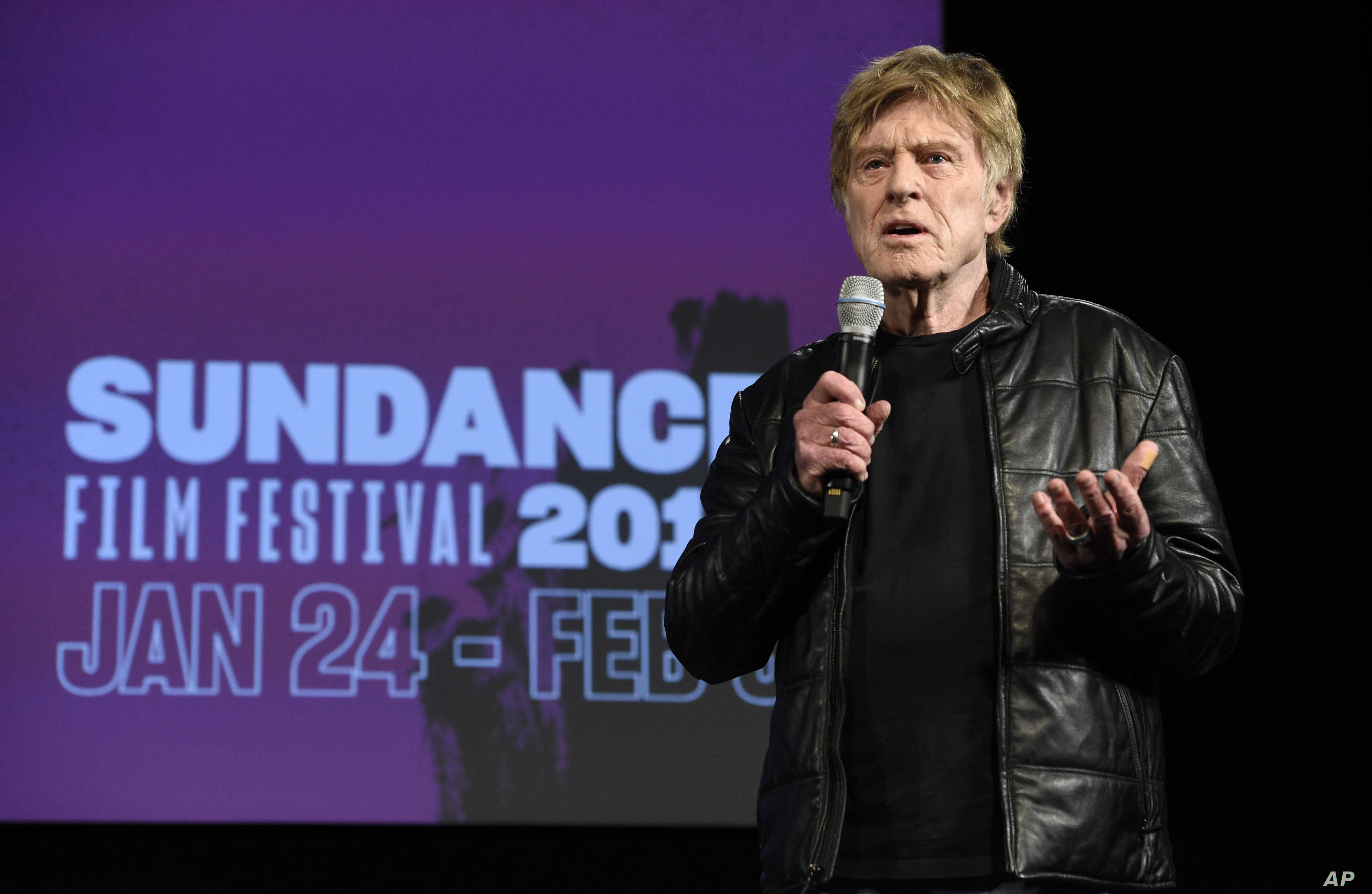 Robert Redford, president and founder of the Sundance Institute, addresses reporters during the opening day press conference at the 2019 Sundance Film Festival in Park City, Utah, Jan. 24, 2019.