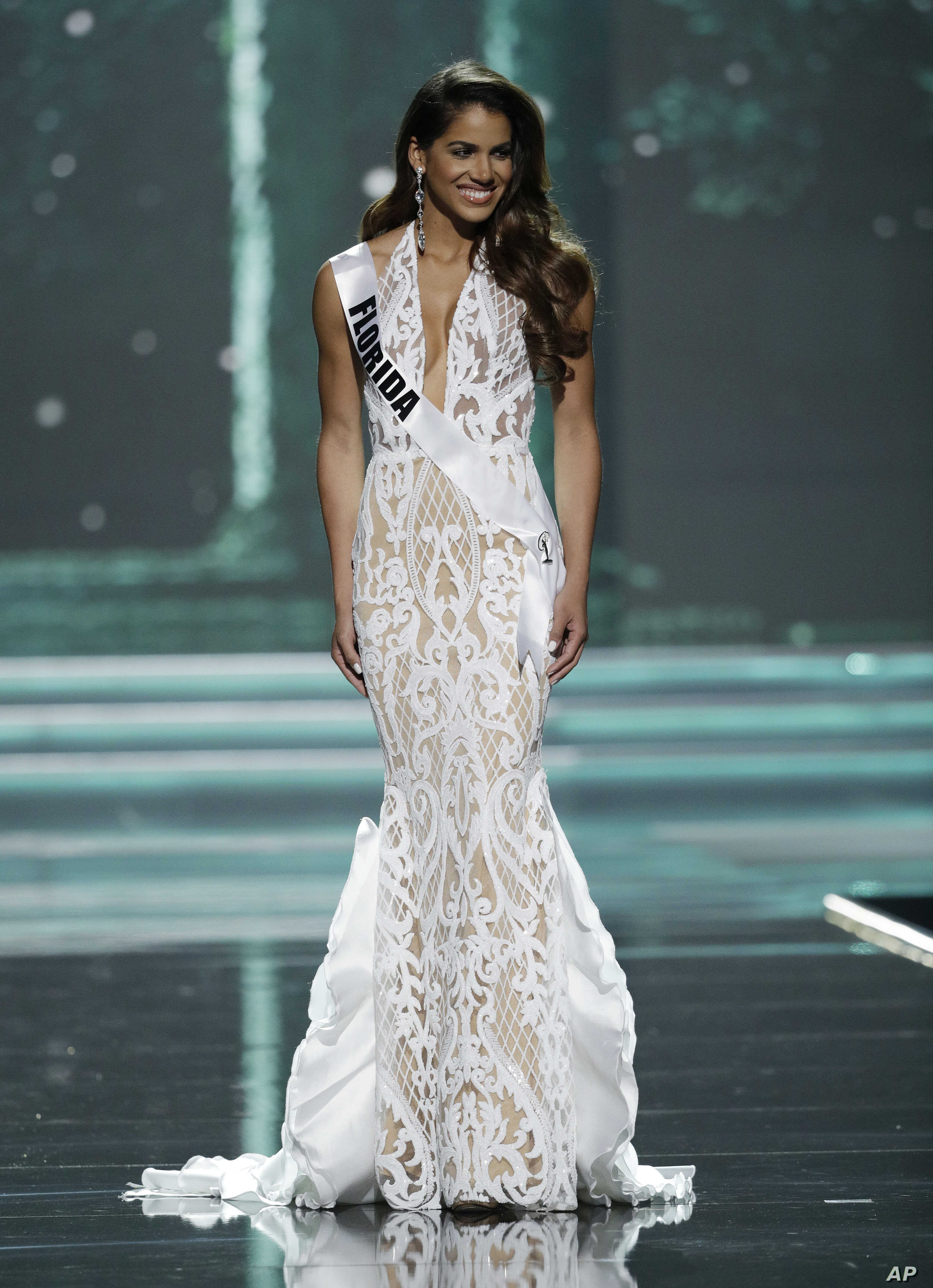 Miss Florida USA Linette De Los Santos competes during a preliminary competition for Miss USA in Las Vegas, May 11, 2017.