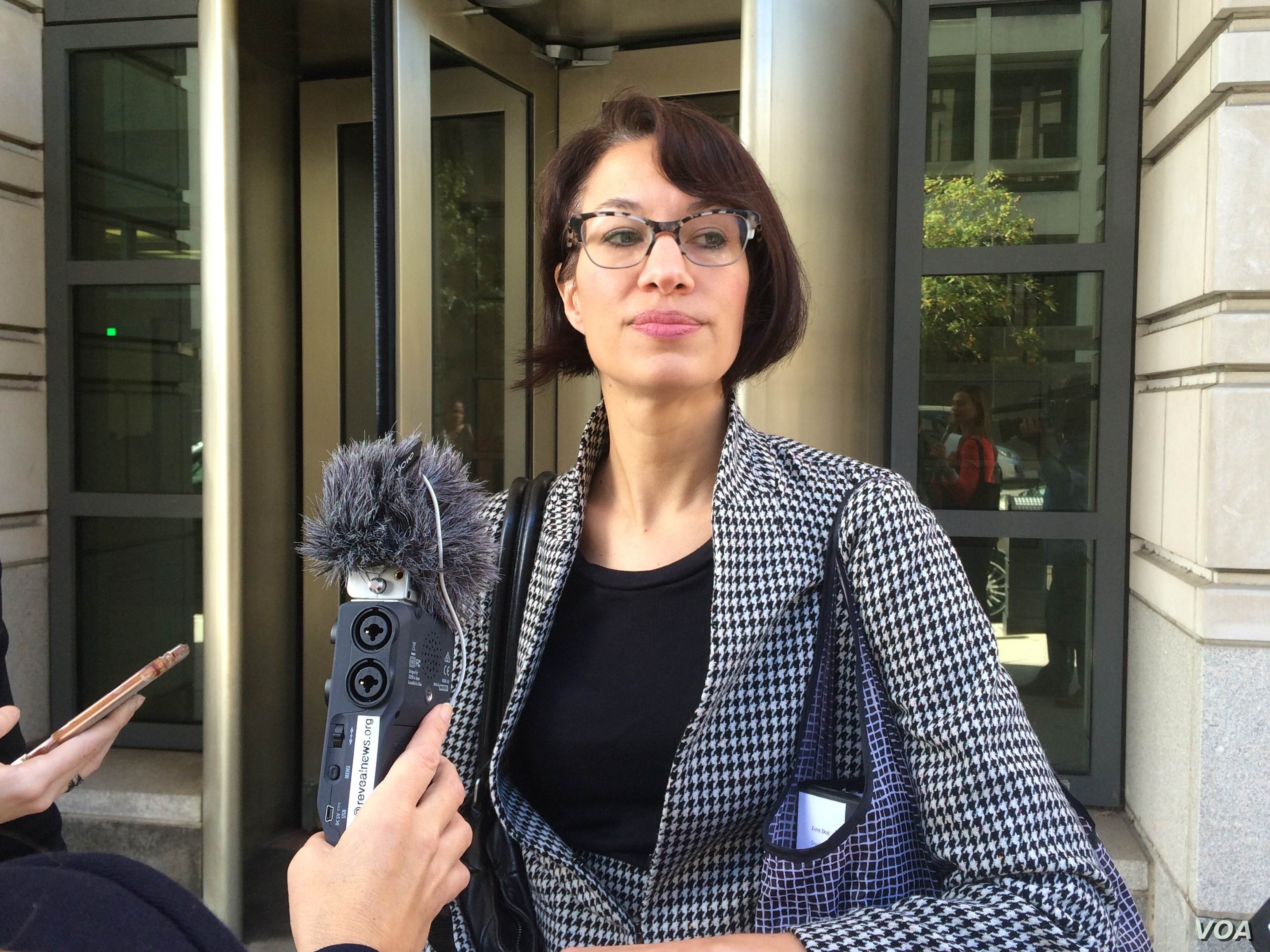 ACLU lawyer Brigitte Amiri talks to reporters after an appeals court hearing on whether a pregnant undocumented immigrant should be allowed to obtain an abortion.