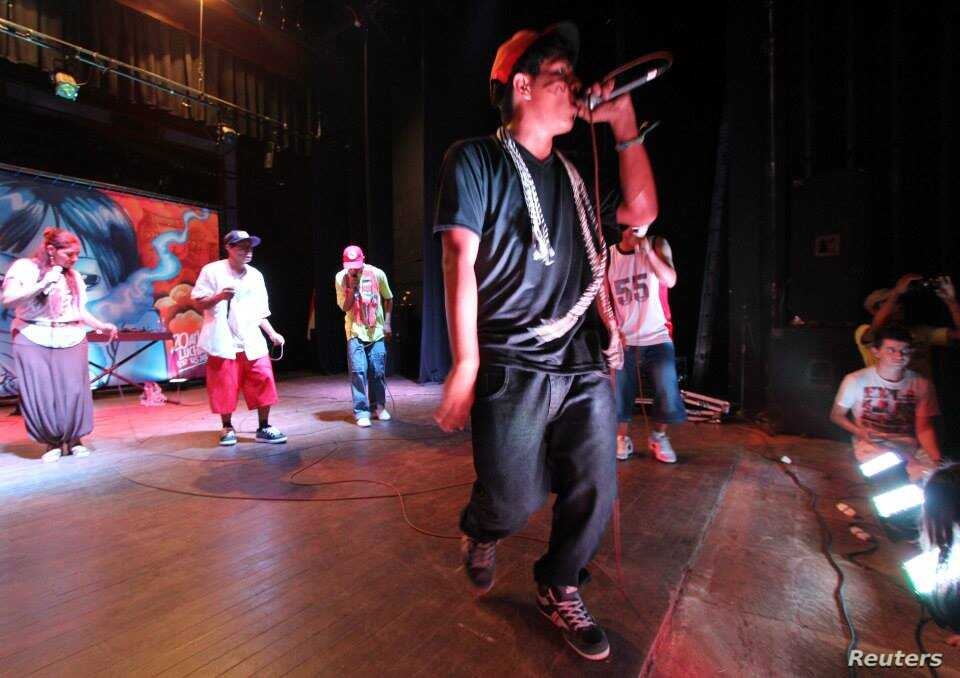 Indigenous rappers group Brô MCs performs in a concert in Asunción, Paraguay, April 2014.