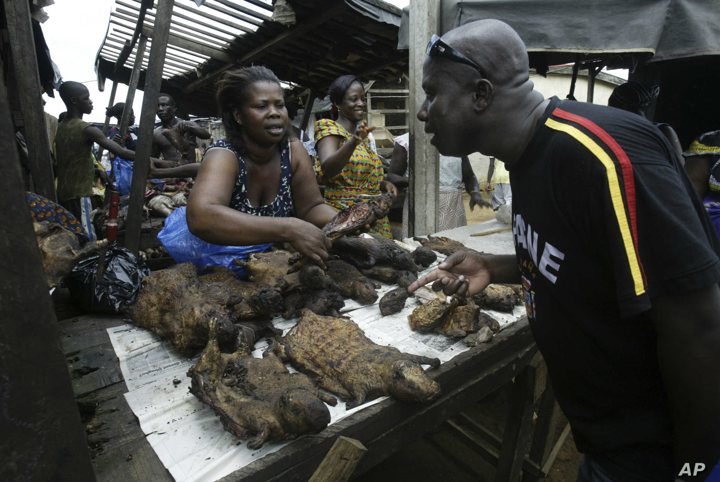 A man buys bush meat at a market in Yopougon, Abidjan May 27, 2006. Researchers say the AIDS virus originated in wild apes in Cameroon and then spread to hunters who killed the animals and marketed the meat. (Photo Luc Gnago / REUTERS)