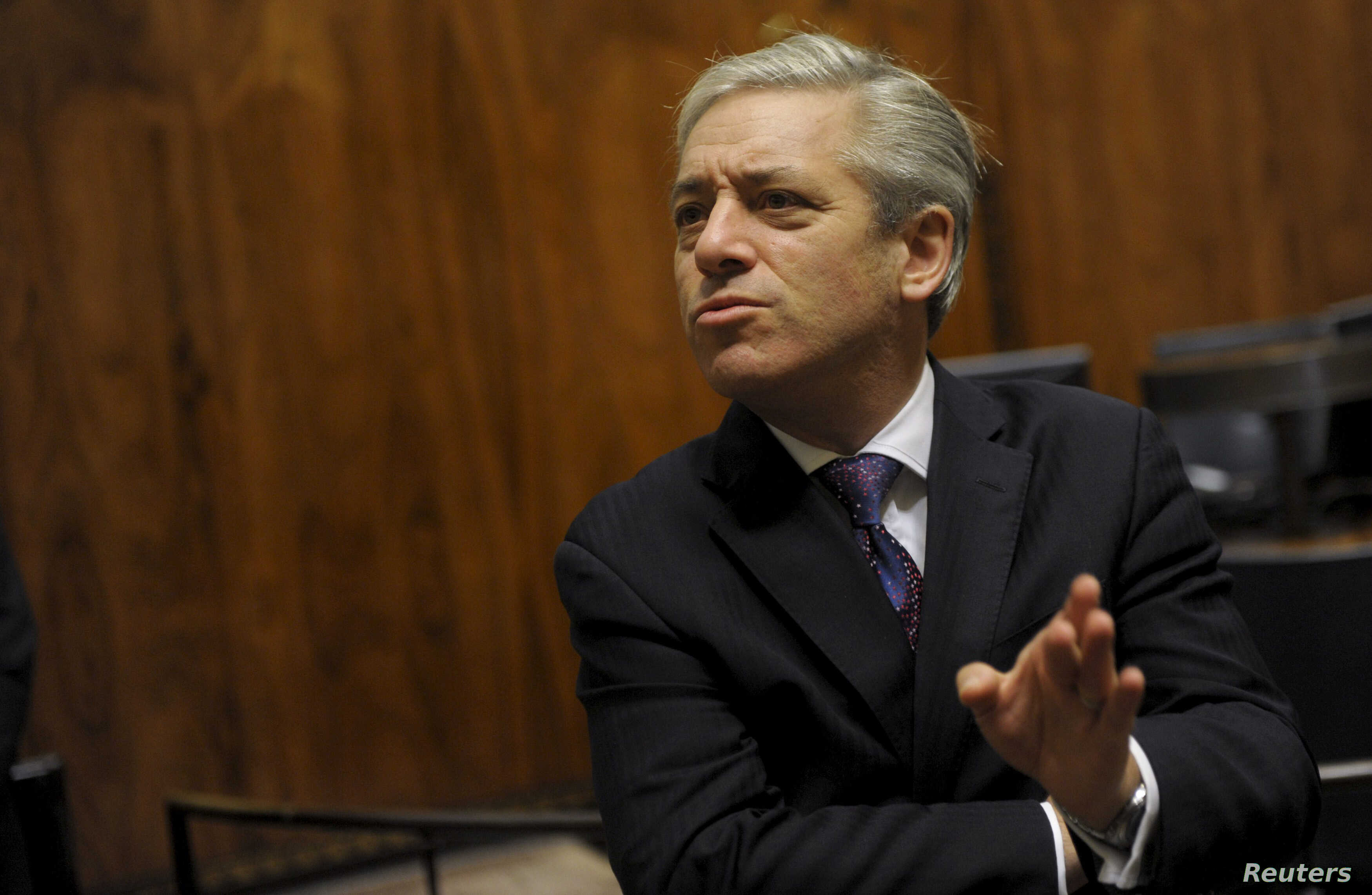 Britain's John Bercow, Speaker of the House of Commons, speaks to Eero Heinaluoma (not pictured), Speaker of the Parliament of Finland, during a meeting in the Finnish parliament in Helsinki, October 8, 2012.
