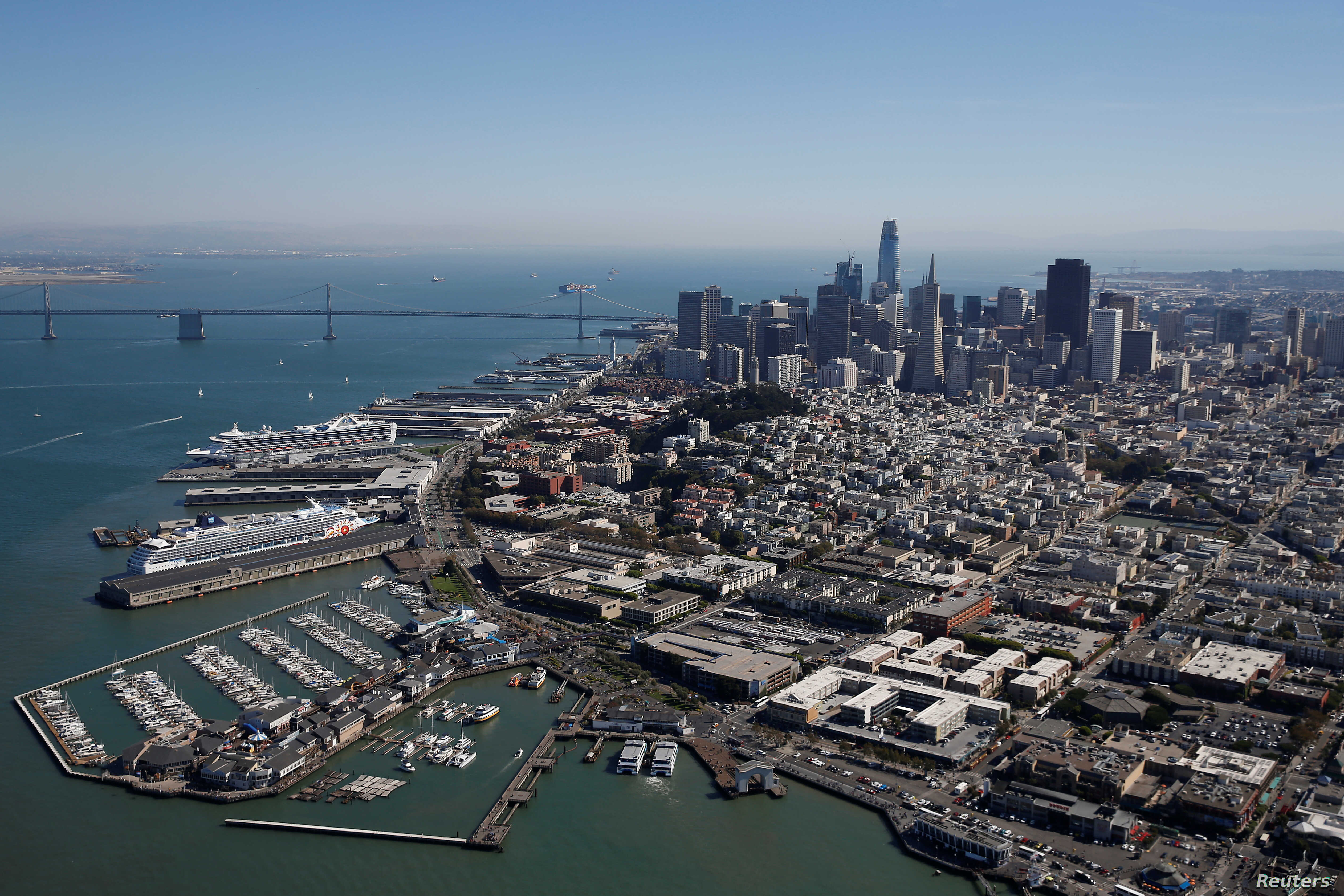 An aerial view of downtown San Francisco, California, Oct. 5, 2017.