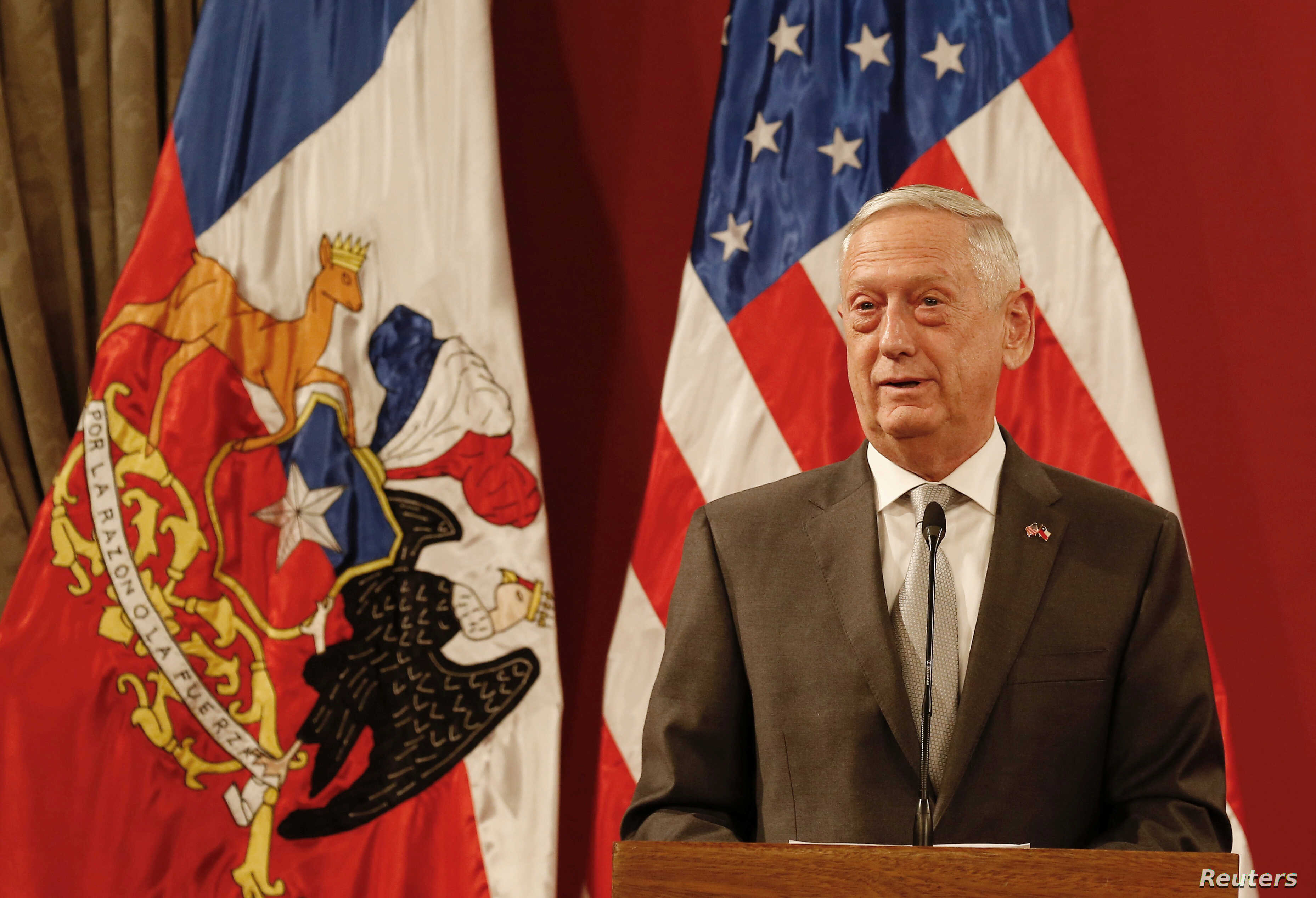 U.S. Defense Minister James Mattis speaks next to Chilean Defense Minister Alberto Espina (not pictured) after signing exchange agreements, during a meeting at La Moneda Presidential Palace in Santiago, Chile Aug. 16, 2018.