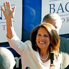 Rep. Michele Bachmann waves to supporters outside her campaign bus after being named the winner of the Iowa Republican Party's Straw Poll, Aug. 13, 2011, in Ames, Iowa