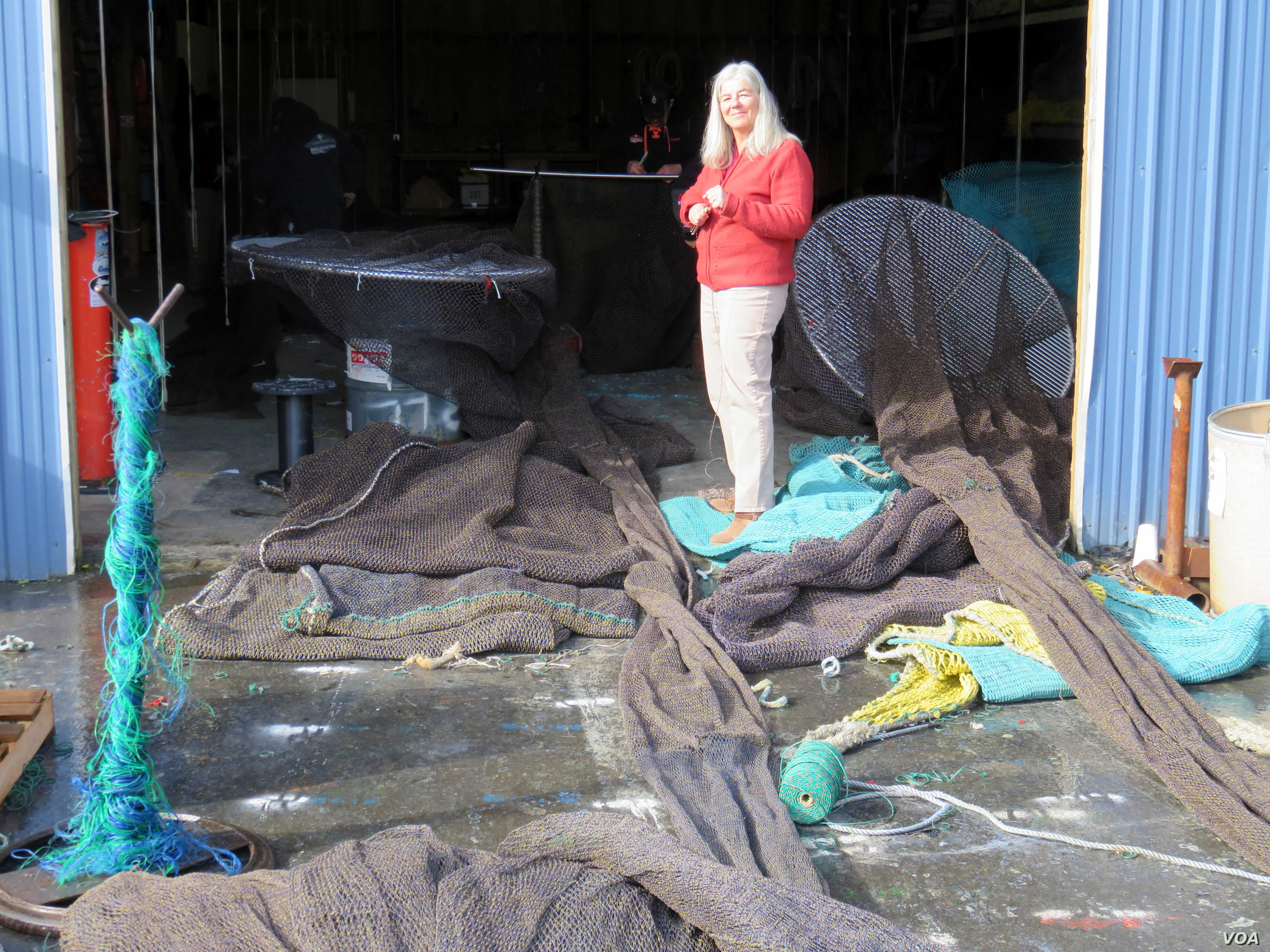 Sara Skamser now runs the commercial fishing net shop Foulweather Trawl at the Port of Newport, Oregon