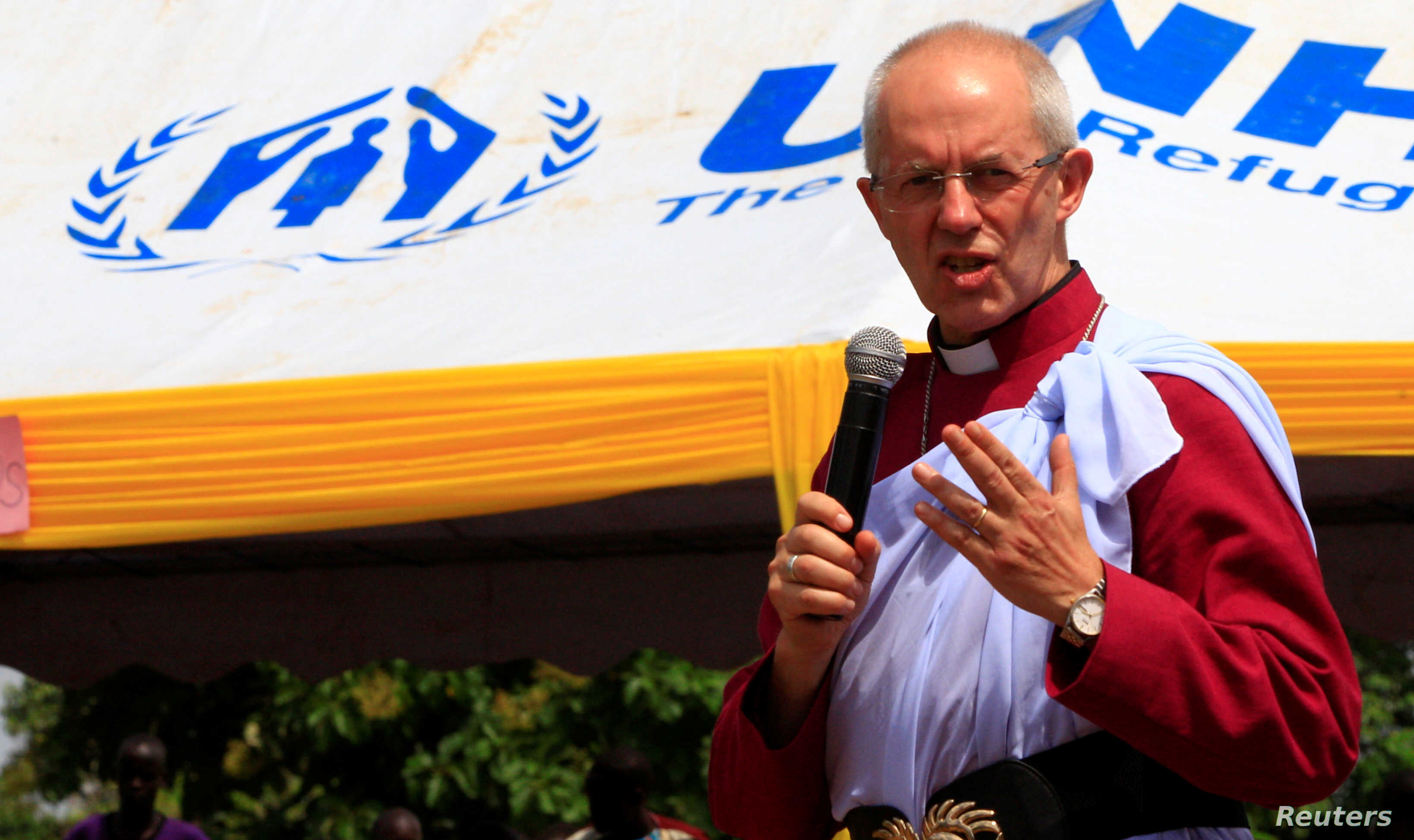 Archbishop of Canterbury Justin Welby speaks to South Sudanese refugees in Mirieyi settlement camp near Kampala, Uganda, Aug. 2, 2017.