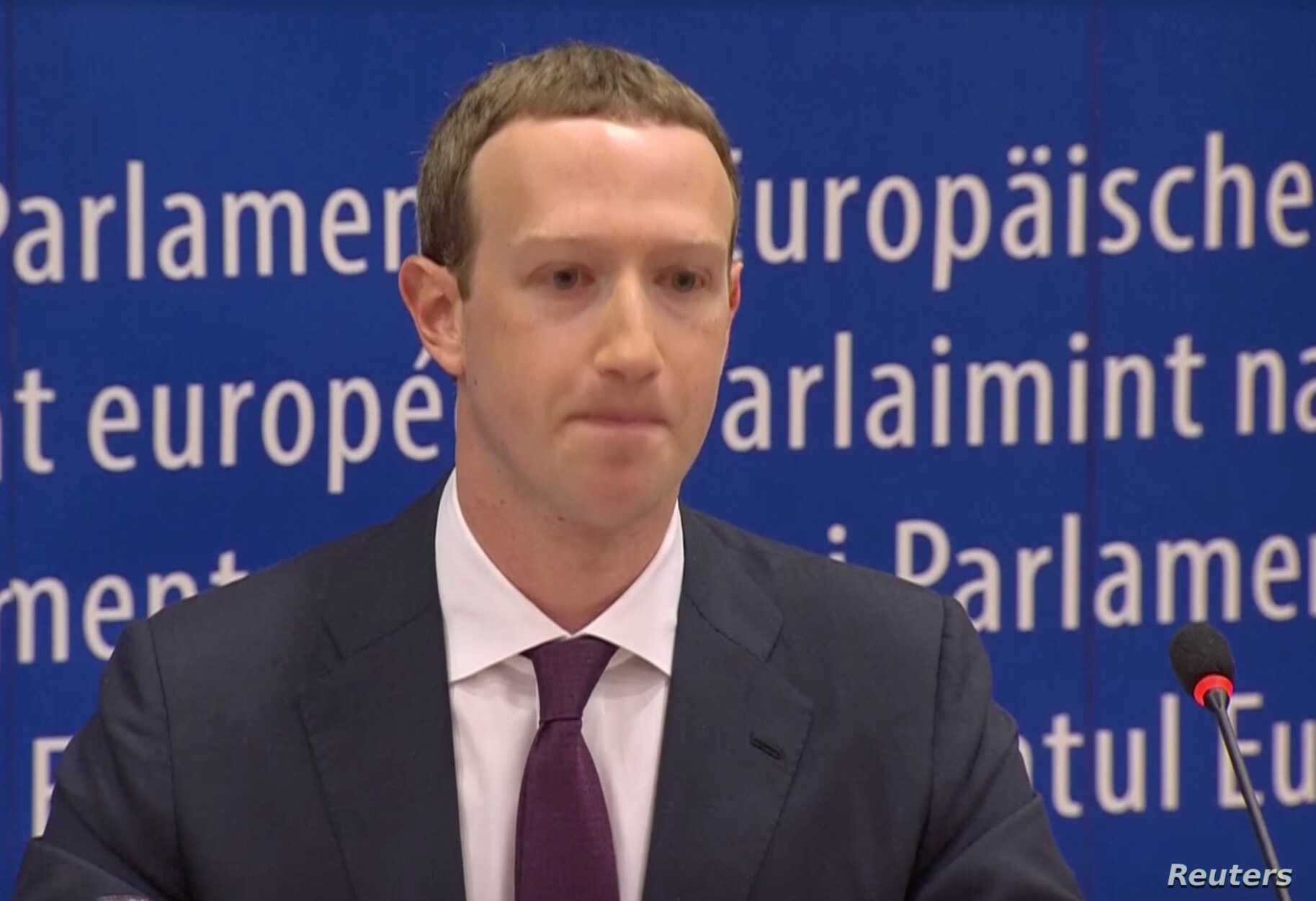 Facebook's CEO Mark Zuckerberg answers questions about the improper use of millions of users' data by a political consultancy, at the European Parliament in Brussels, Belgium, in this still image taken from Reuters TV, May 22, 2018.