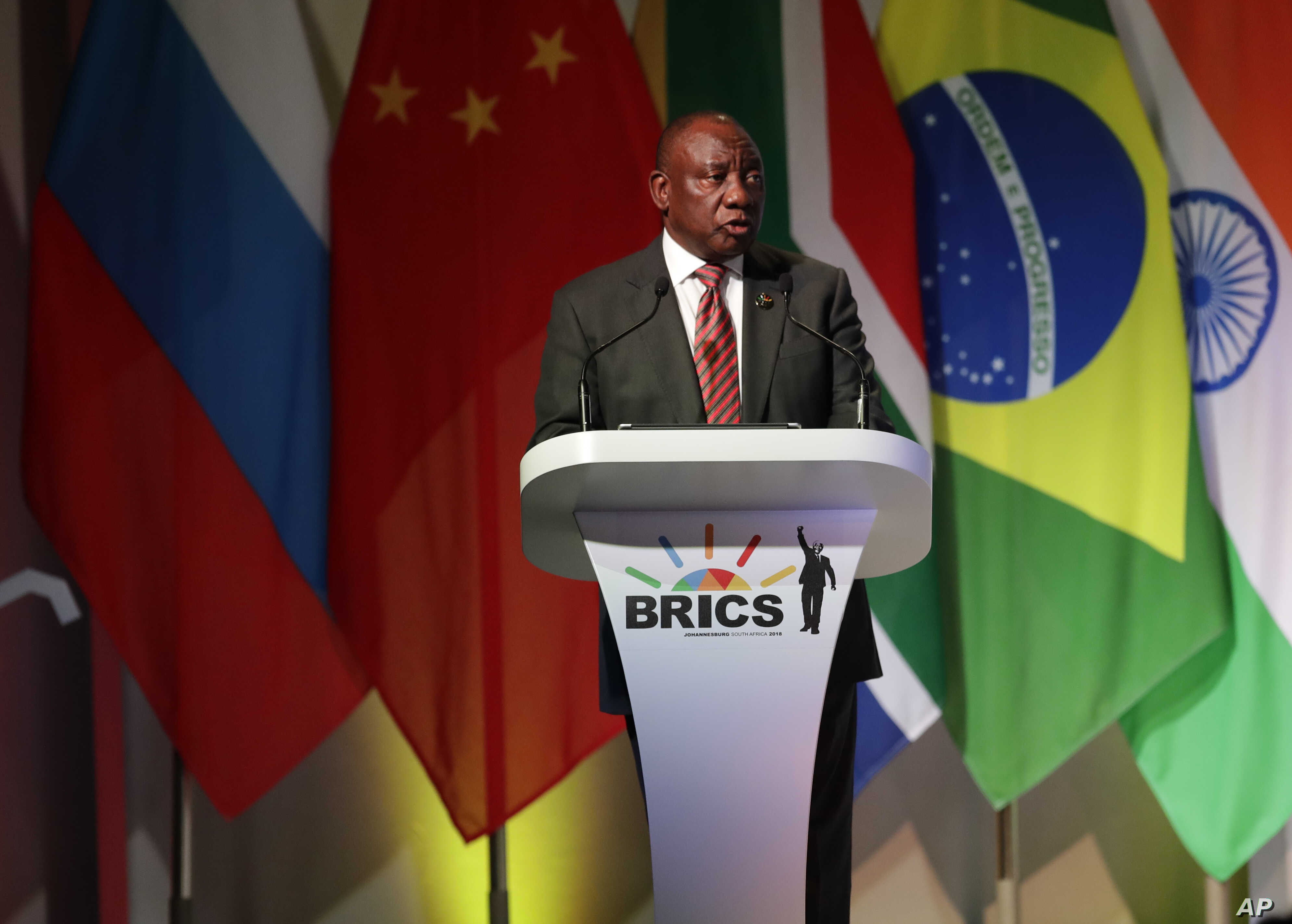 South African President Cyril Ramaphosa speaks during his opening of the BRICS Summit in JOhannesburg, July 25 2018. The summit runs through Friday with various heads of BRICS attending.