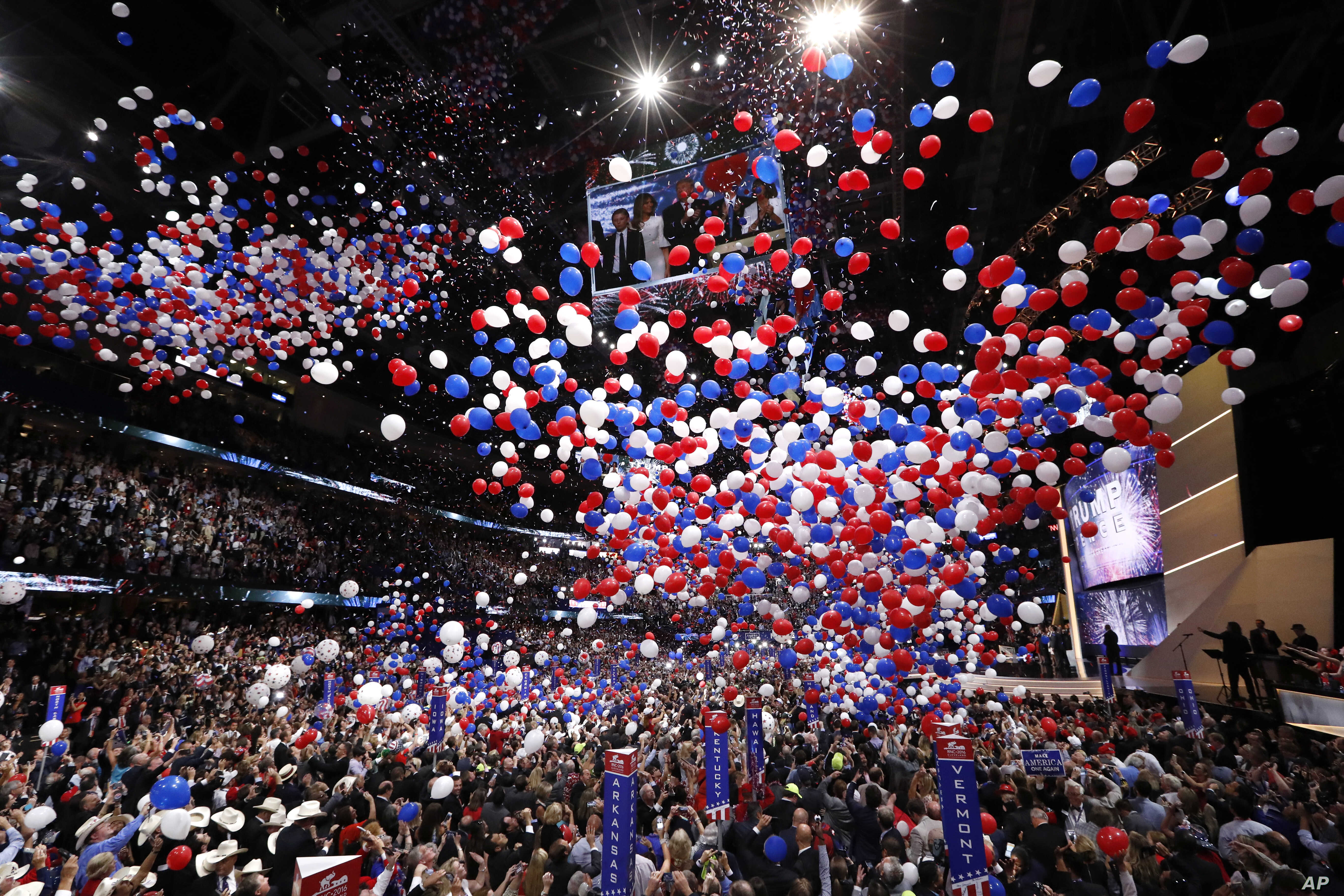 Confetti and balloons fall during celebrations after Donald Trump's acceptance speech on the final day of the Republican National Convention in Cleveland, July 21, 2016.