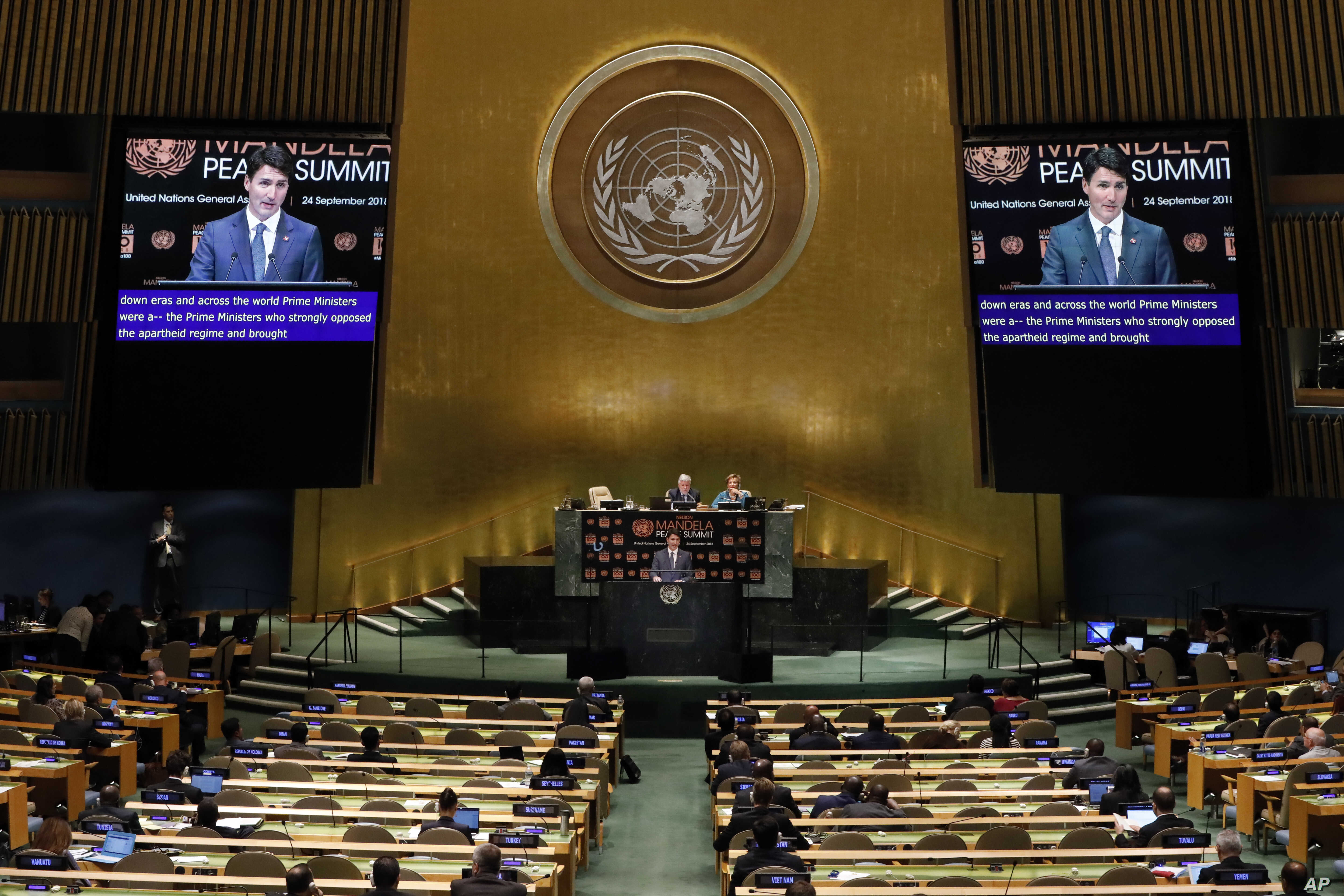 Prime Minister of Canada Justin Trudeau addresses the Nelson Mandela Peace Summit in the United Nations General Assembly, at U.N. headquarters, Sept. 24, 2018.
