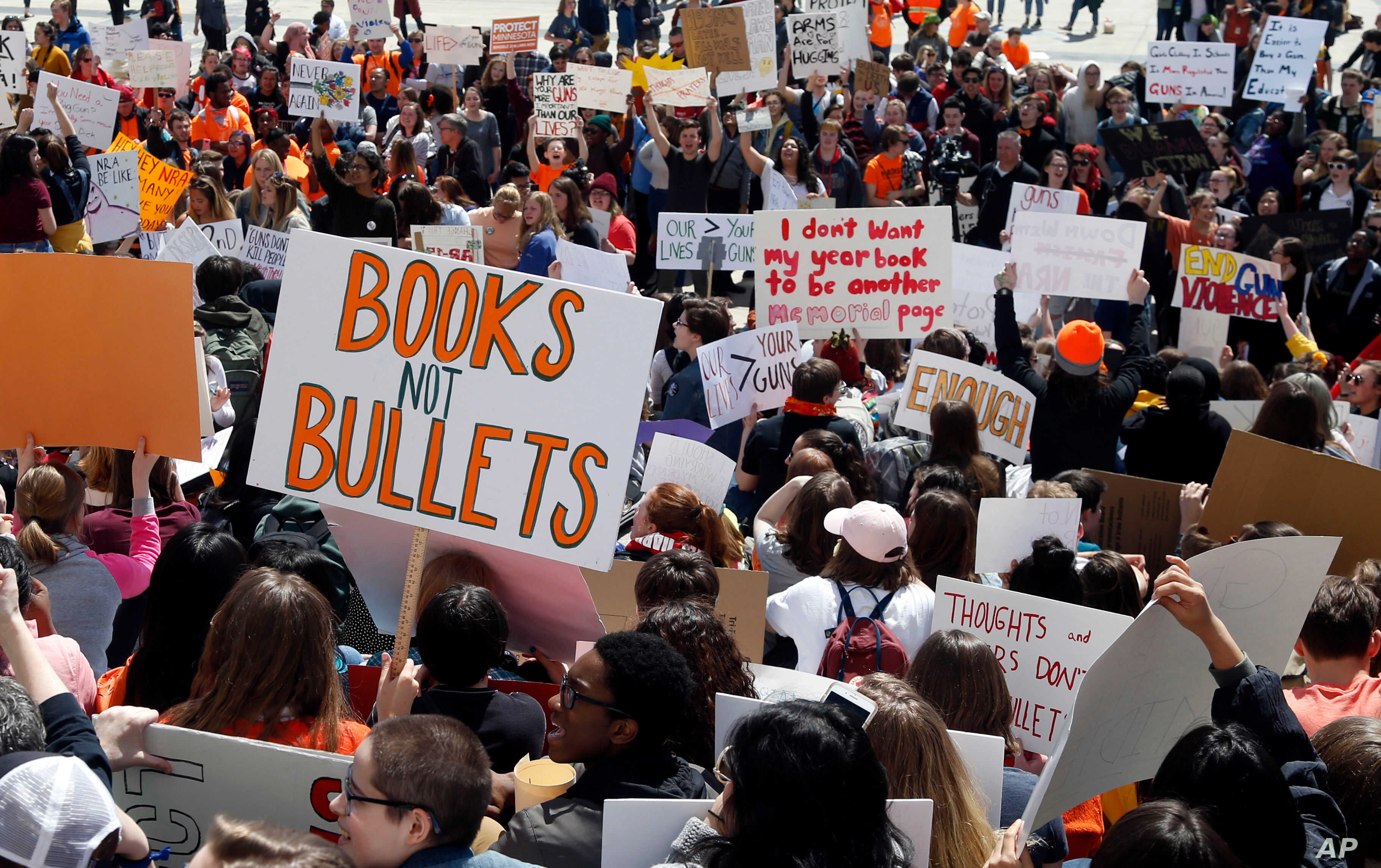 Hundreds of students gather, April 20, 2018, at the Capitol in St. Paul, Minn., to protest gun violence, part of a national high school walkout on the 19th anniversary of the Columbine shootings.