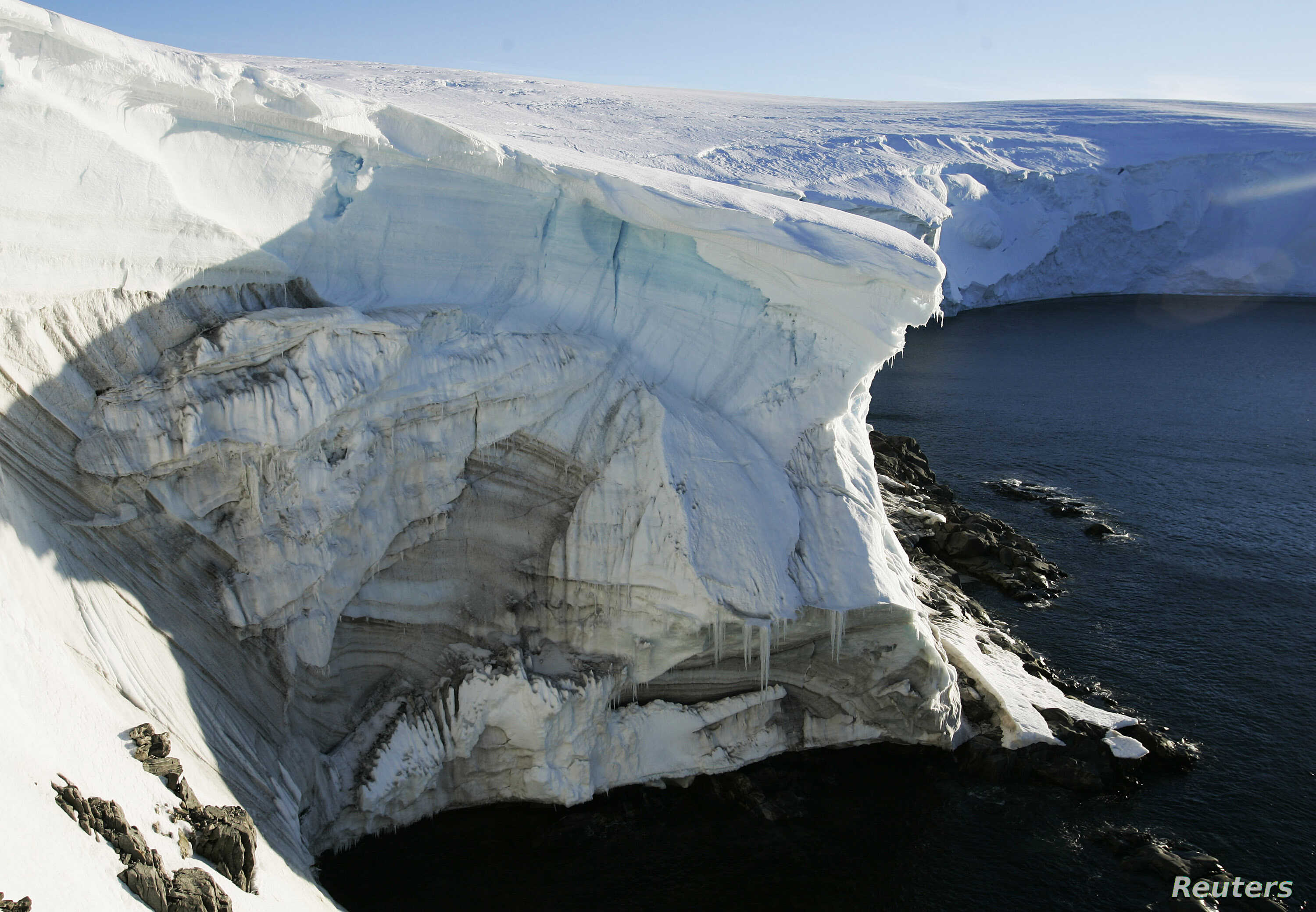 A record-size hole in the ozone layer has appeared over Antarctica. Shown here is a cliff face at Landsend, on the coast of Cape Denison.