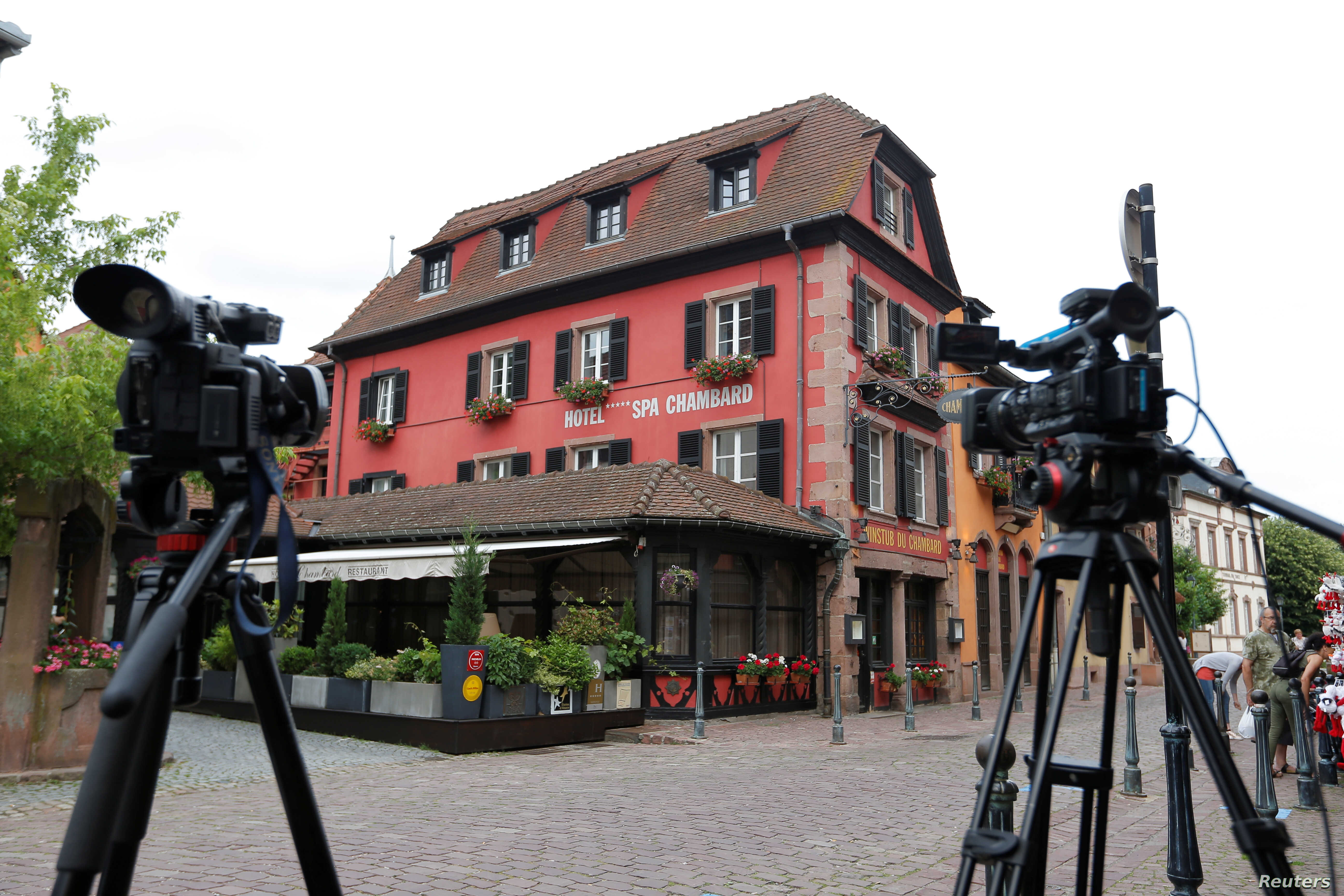 Media cameras and tripods are seen outside Le Chambard Hotel in Kaysersberg-Vignoble, France, June 8, 2018.