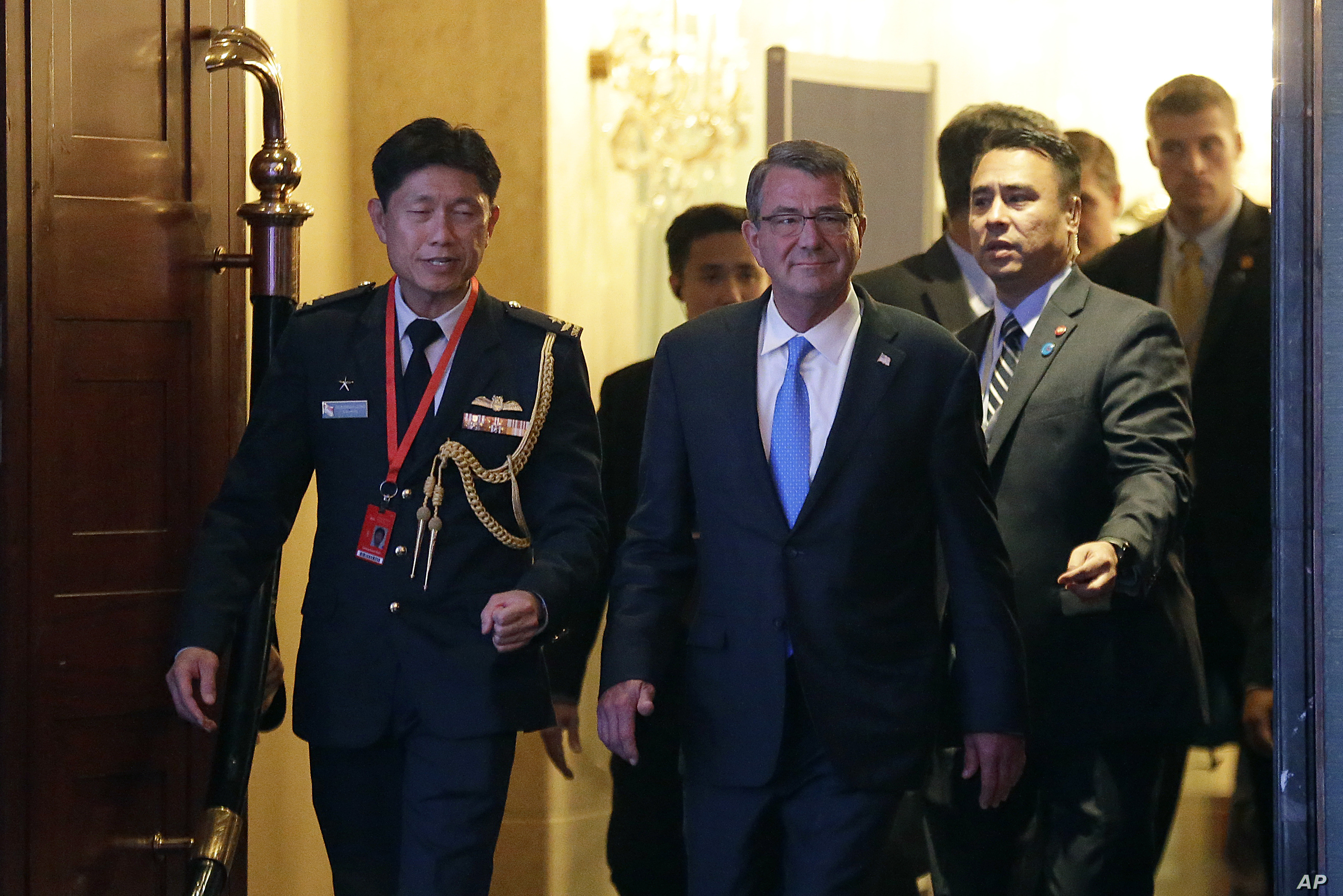 U.S. Defense Secretary Ash Carter arrives for the Opening Dinner of the 15th International Institute for Strategic Studies Shangri-la Dialogue, or IISS, Asia Security Summit on Friday, June 3, 2016, in Singapore.