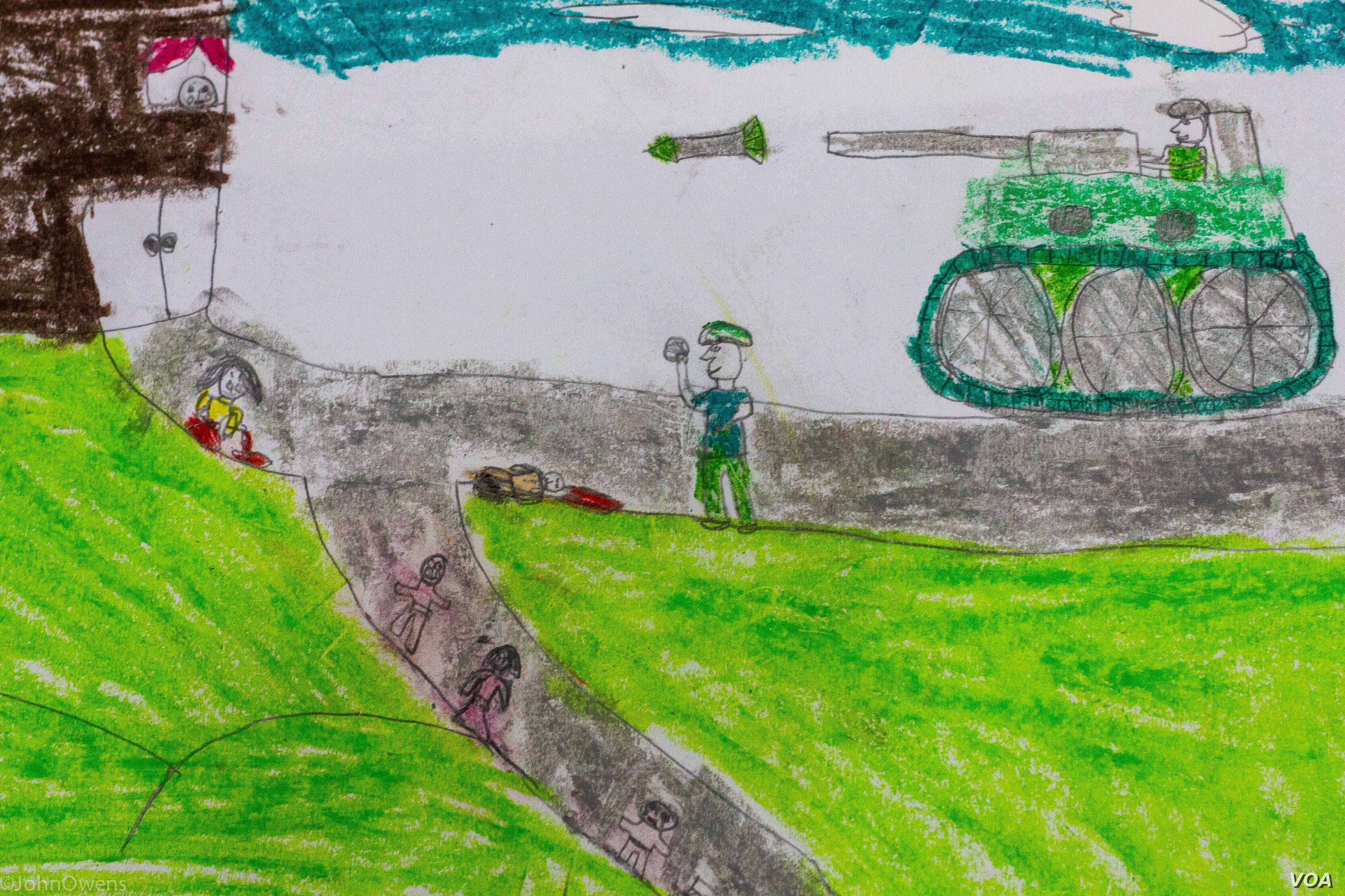 Drawings from the classes held in a community center in Shatila often used to depict the violence that children had escaped from in Syria, Dec. 4, 2015. (J. Owens/VOA)