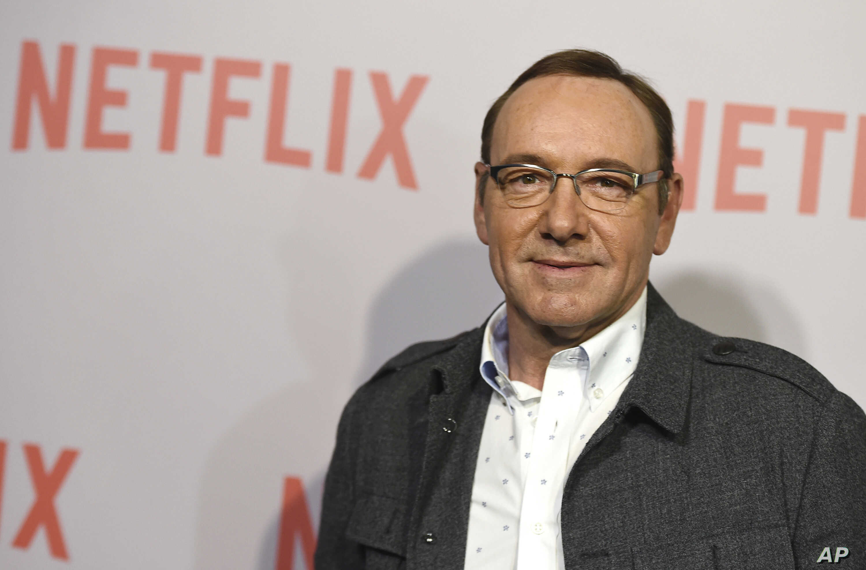 """FILE - Kevin Spacey arrives at the Samuel Goldwyn Theater in Beverly Hills, Calif., April 27, 2015. Netflix says Spacey is out at """"House of Cards"""" after a series of allegations of sexual harassment and assault and it is cutting all ties with Spacey."""