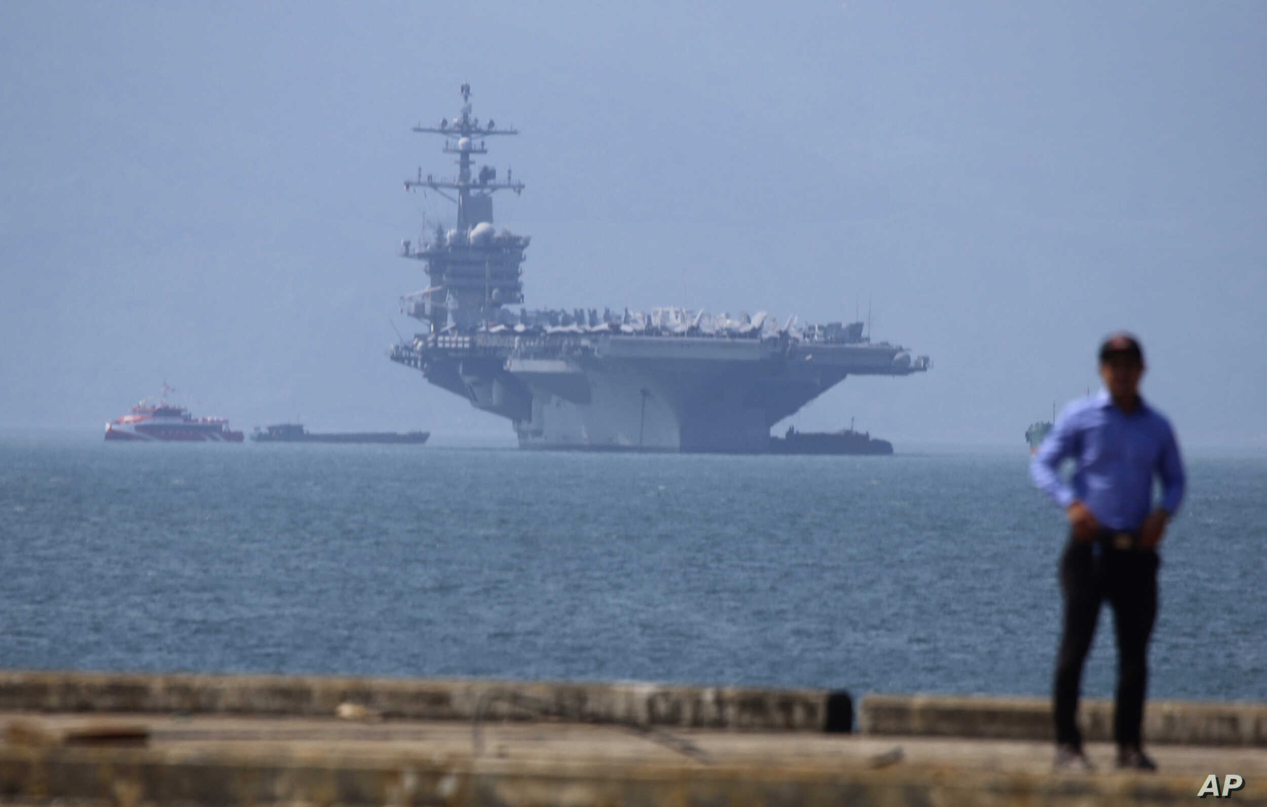 The USS Carl Vinson is anchored at Tien Sa Port in Danang, Vietnam, March 5, 2018.