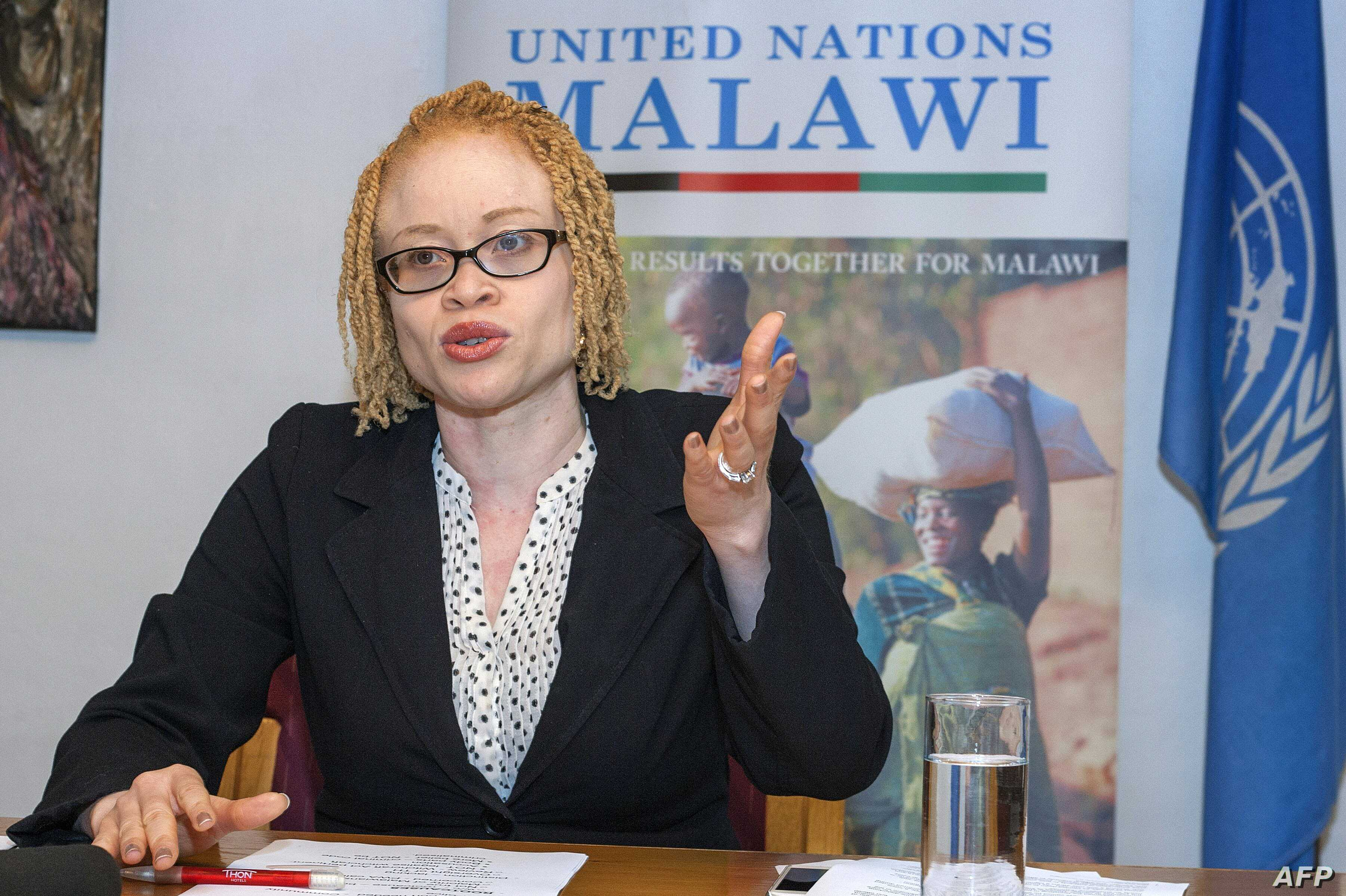 The U.N.'s independent expert on human rights and albinism, Ikponwosa Ero, addresses a news conference at the end of her official visit to Malawi on April 29, 2016.