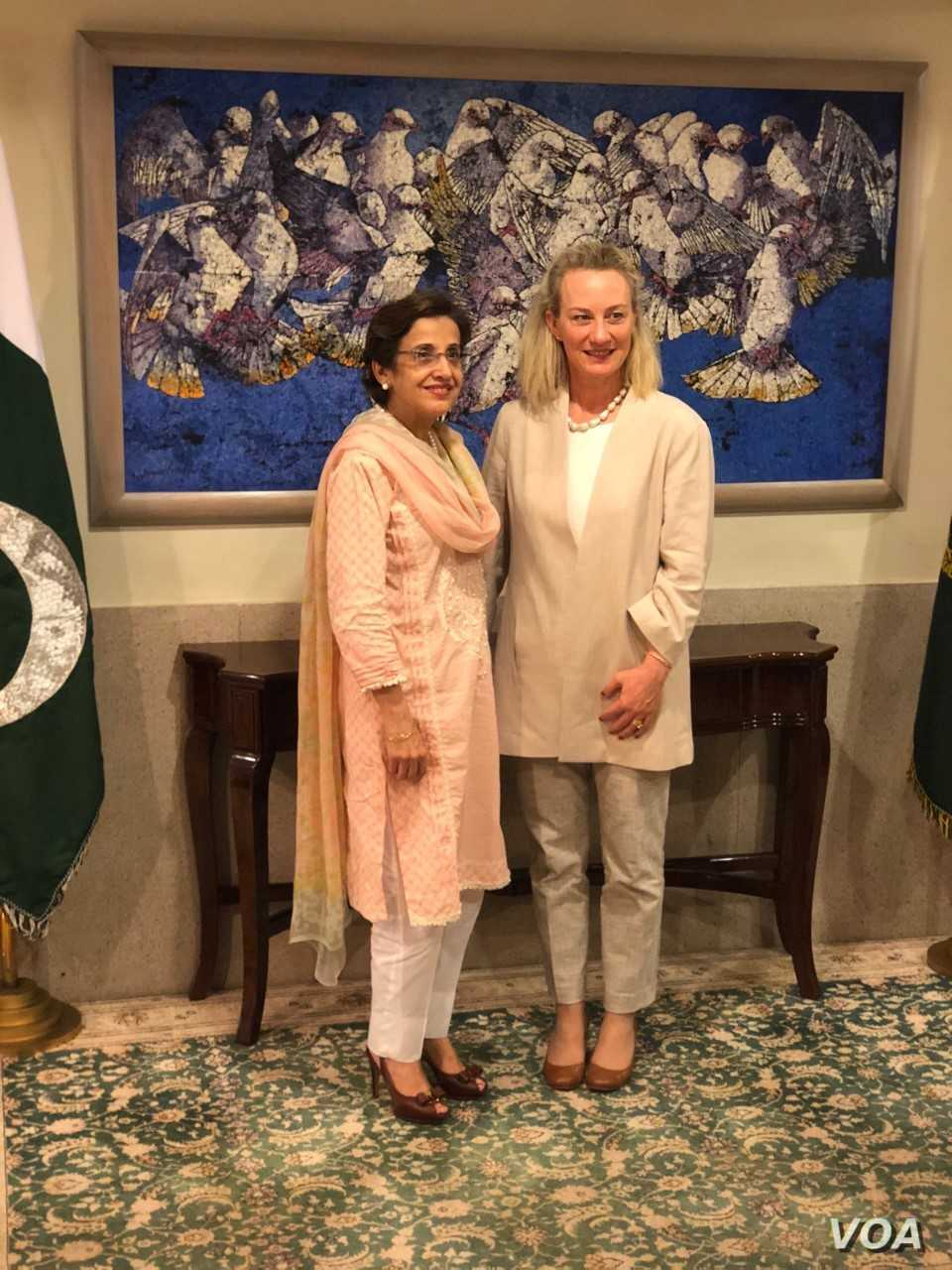 U.S. Principal Deputy Assistant Secretary for South and Central Asia Alice Wells meets with Pakistan Foreign Secretary Tehmina Janjua in Islamabad, July 2, 2018.