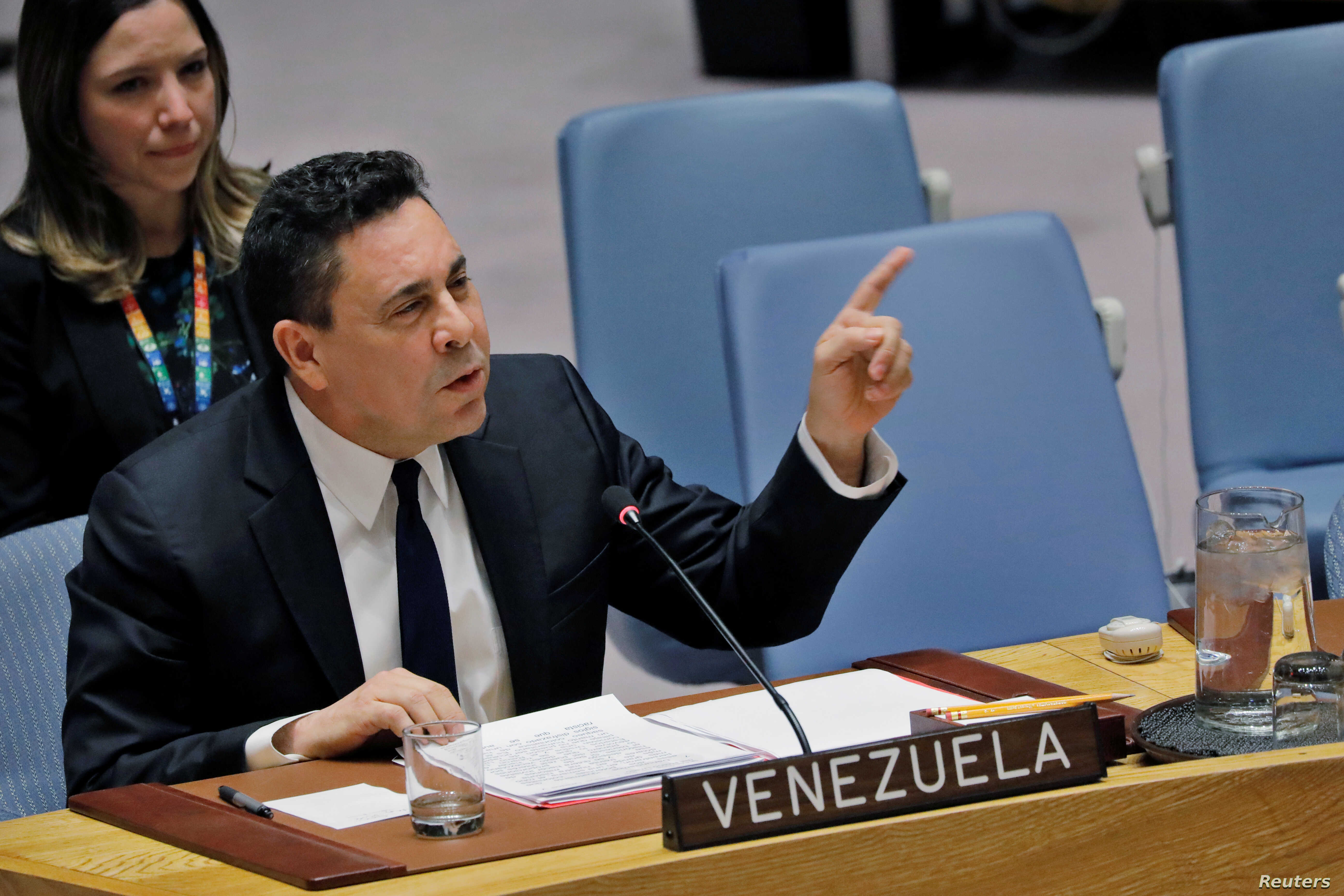 Venezuelan Ambassador to the United Nations Samuel Moncada speaks during a meeting of the U.N. Security Council on Venezuela's electoral and humanitarian problems at U.N. headquarters in New York, Feb. 28, 2019.