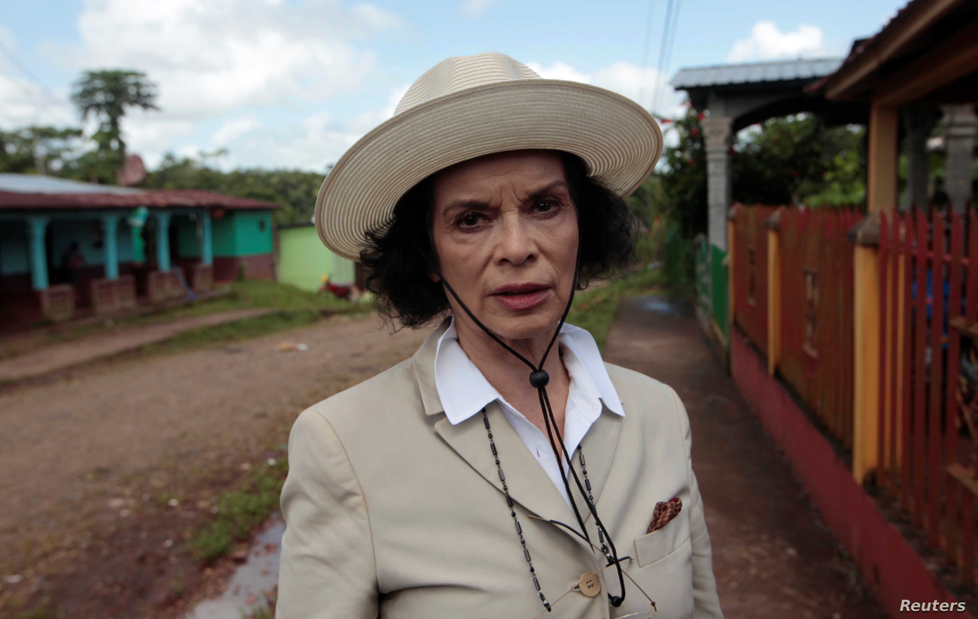 FILE - Human rights activist Bianca Jagger speaks during a interview with Reuters before a march to protest against the  construction of Interoceanic canal at La Fonseca, Nicaragua, Aug. 15,2017.