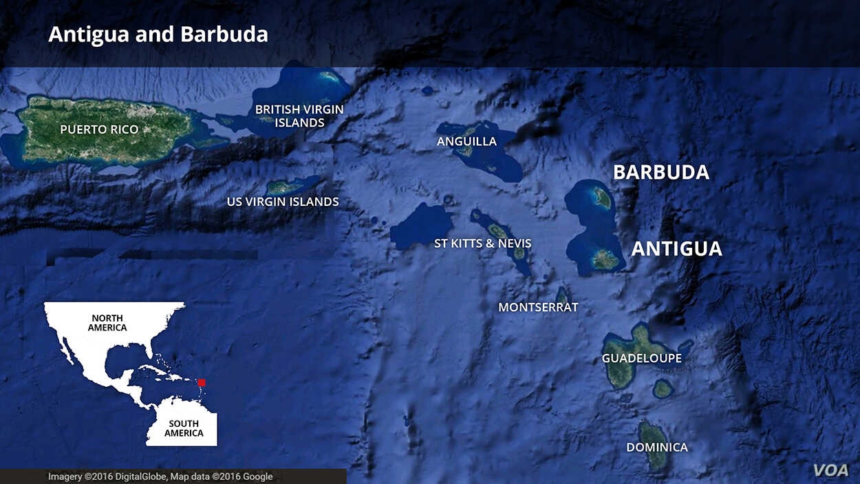 Map of Antigua and Barbuda islands in the Caribbean