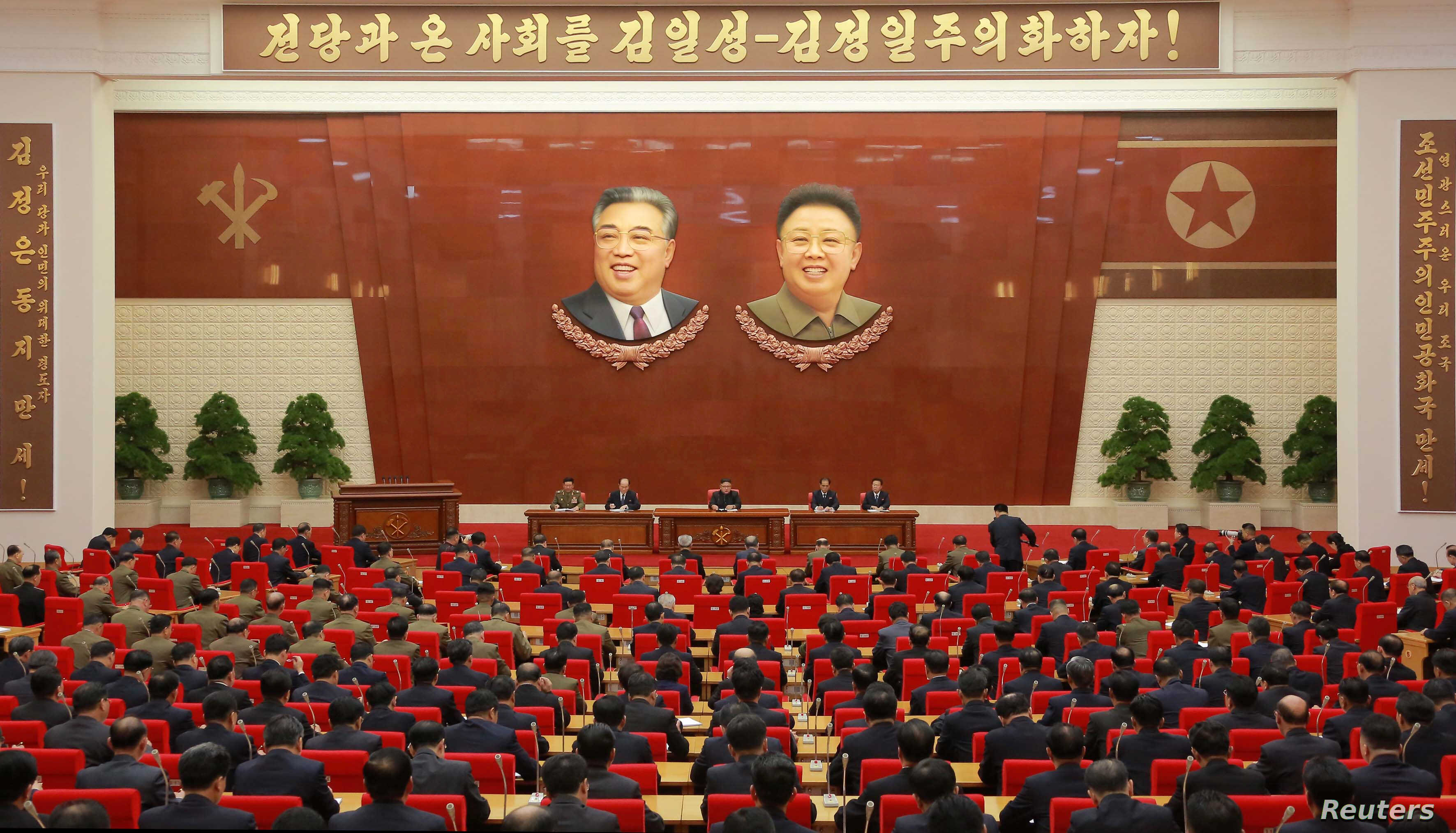 North Korean leader Kim Jong Un speaks during the Second Plenum of the 7th Central Committee of the Workers' Party of Korea (WPK) at the Kumsusan Palace of the Sun, in this undated photo released by North Korea's Korean Central News Agency in Pyongya...
