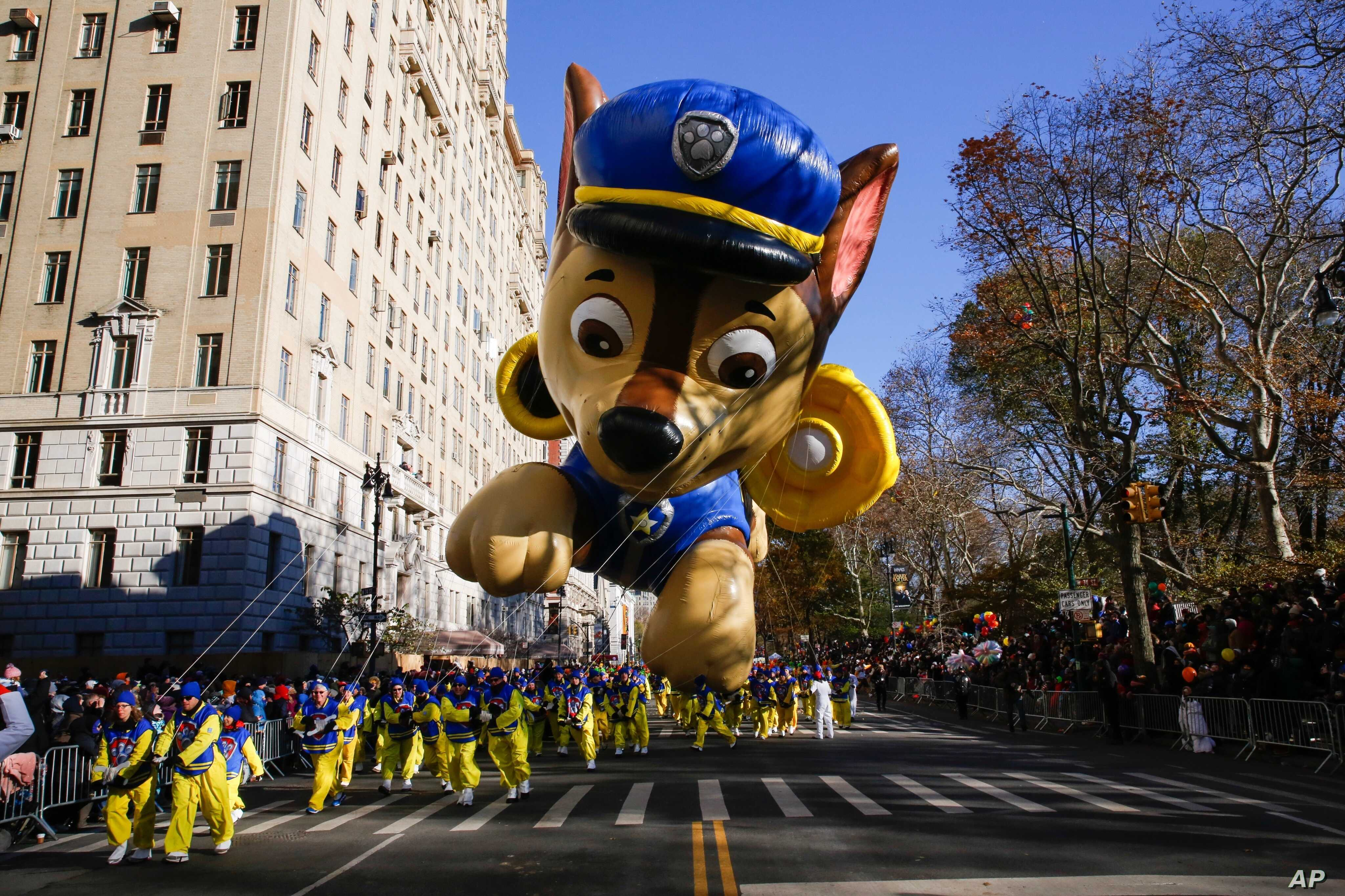 "A ""PAW Patrol"" balloon floats over Central Park West during the 92nd annual Macy's Thanksgiving Day Parade in New York, Nov. 22, 2018."