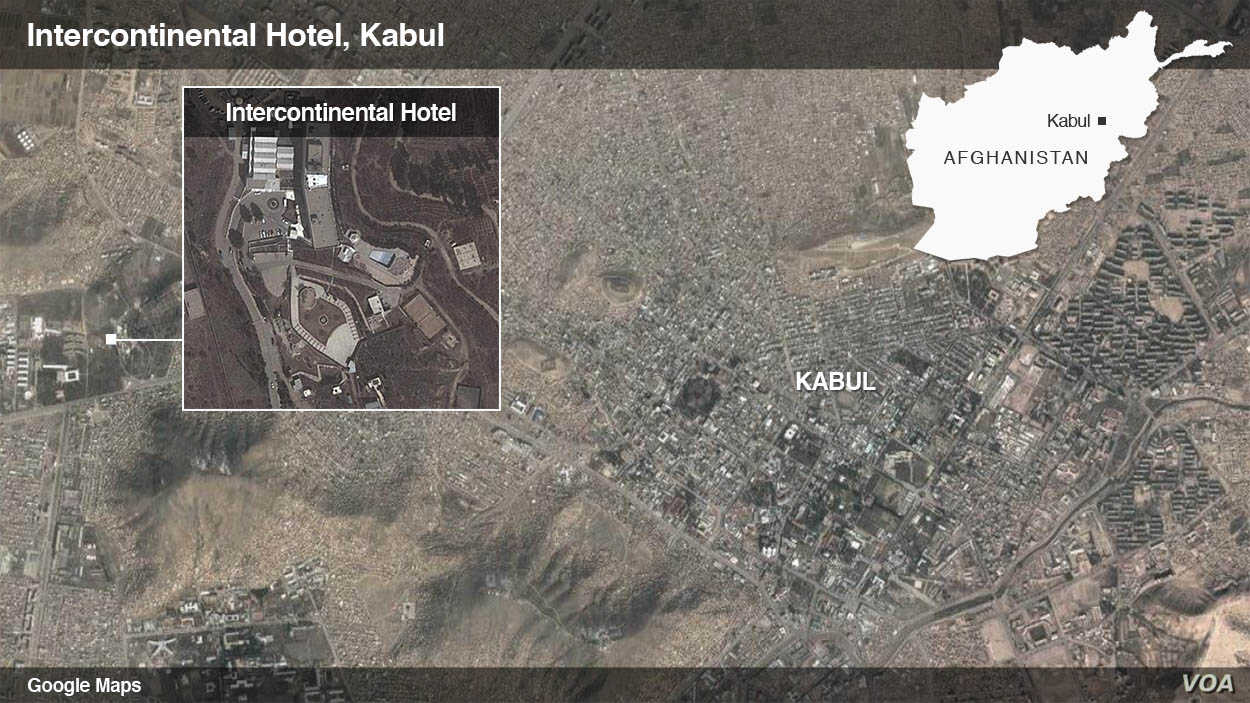 Map Intercontinental Hotel in Kabul