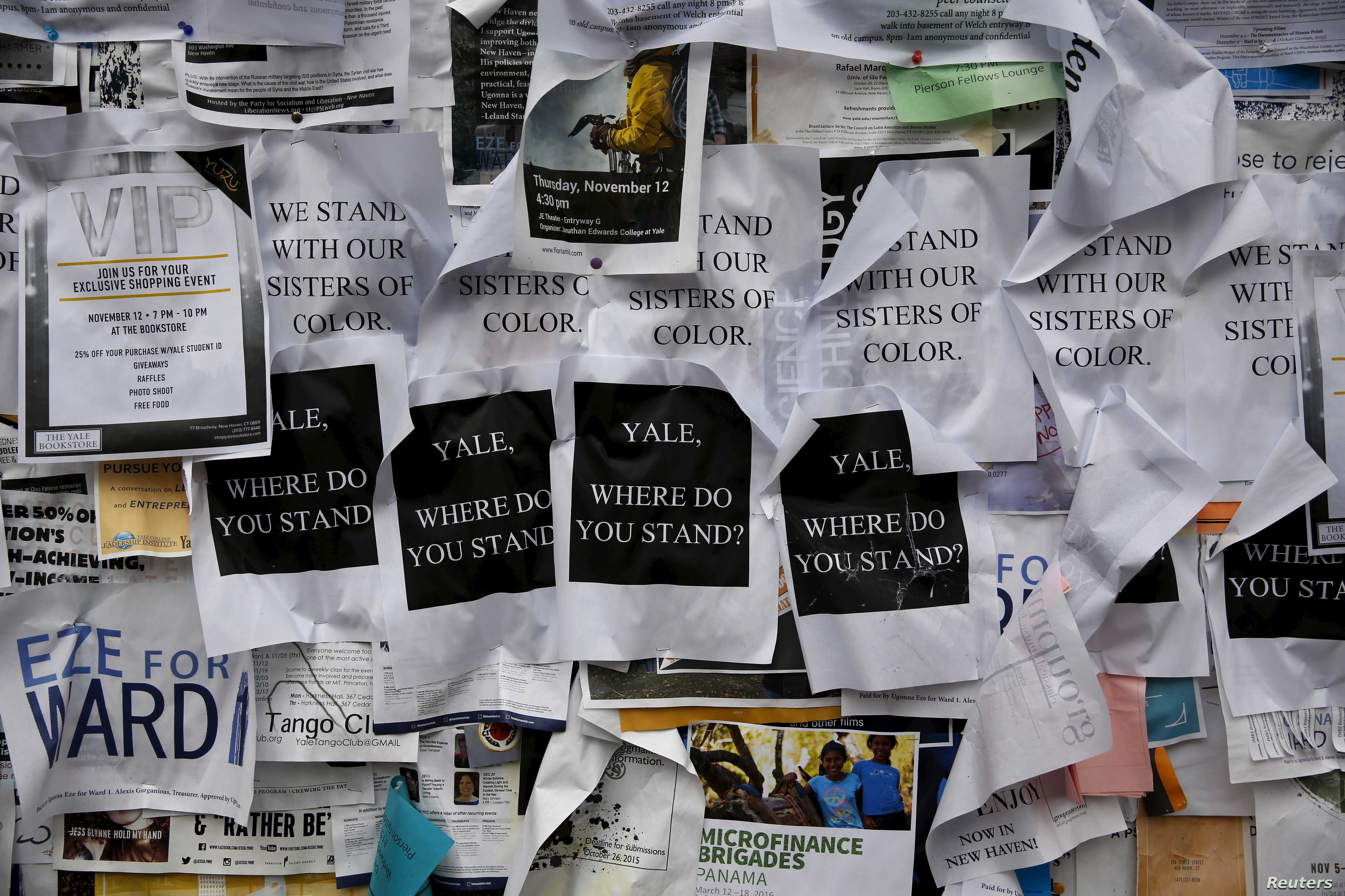 Flyers on a college noticeboard on campus at Yale University in New Haven, Conn., Nov. 12, 2015. More than 1,000 students, professors and staff gathered Wednesday to discuss race and diversity at the elite Ivy League school.