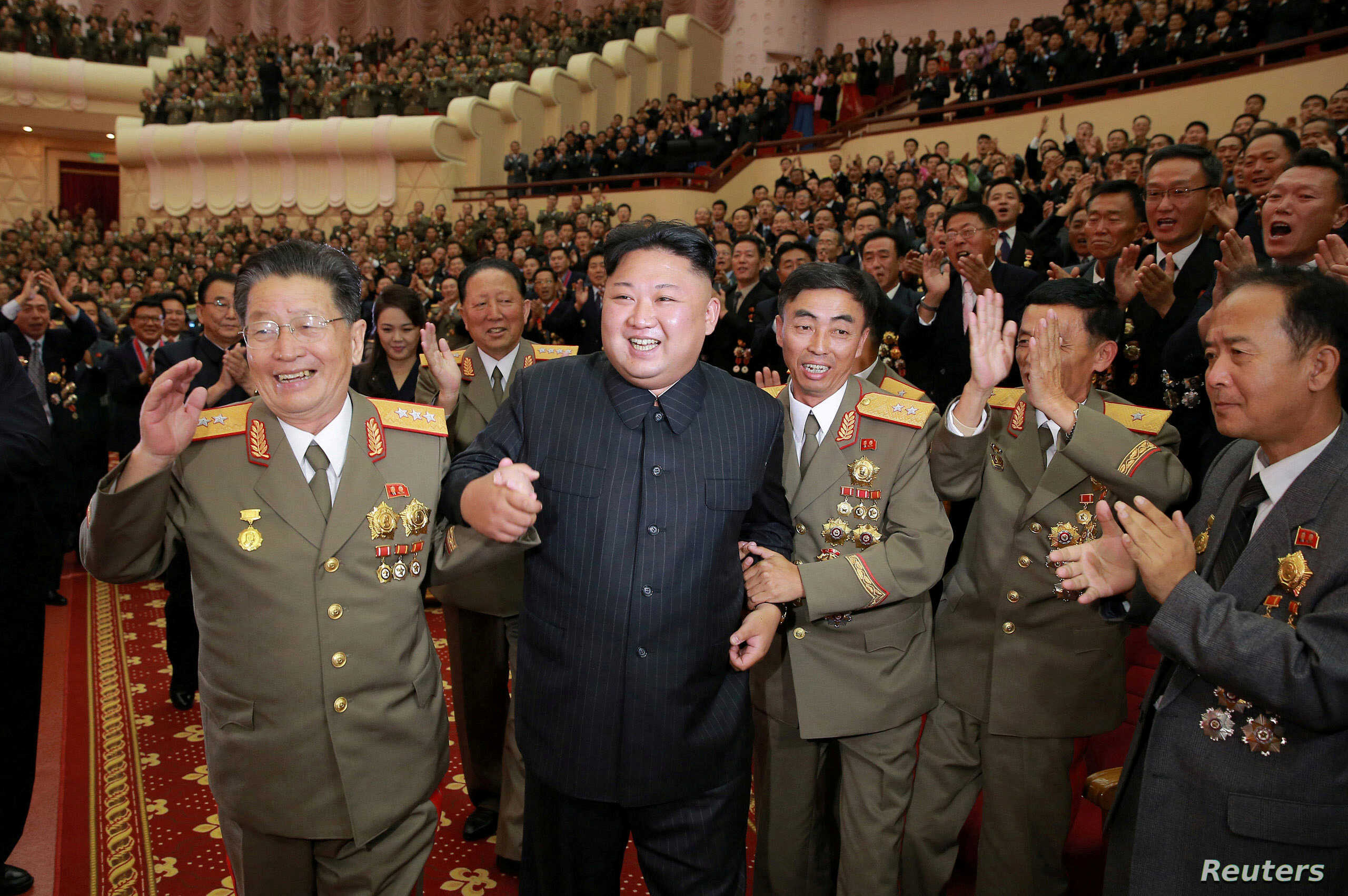 North Korean leader Kim Jong Un reacts during a celebration for nuclear scientists and engineers who contributed to a hydrogen bomb test, in this undated photo released by North Korea's Korean Central News Agency  in Pyongyang on Sept. 10, 2017.
