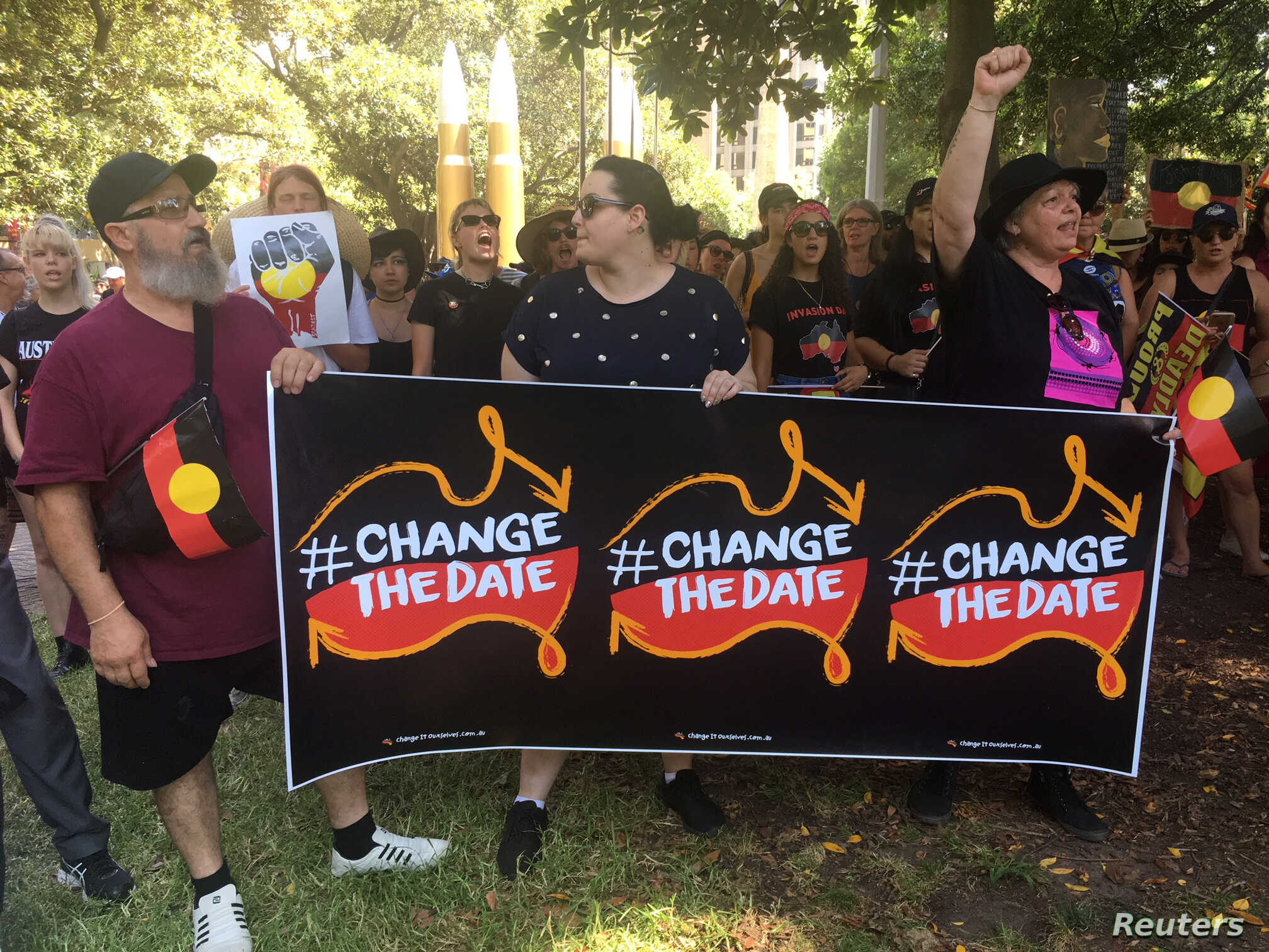 People demonstrate during Australia Day in Sydney, Jan. 26, 2019.