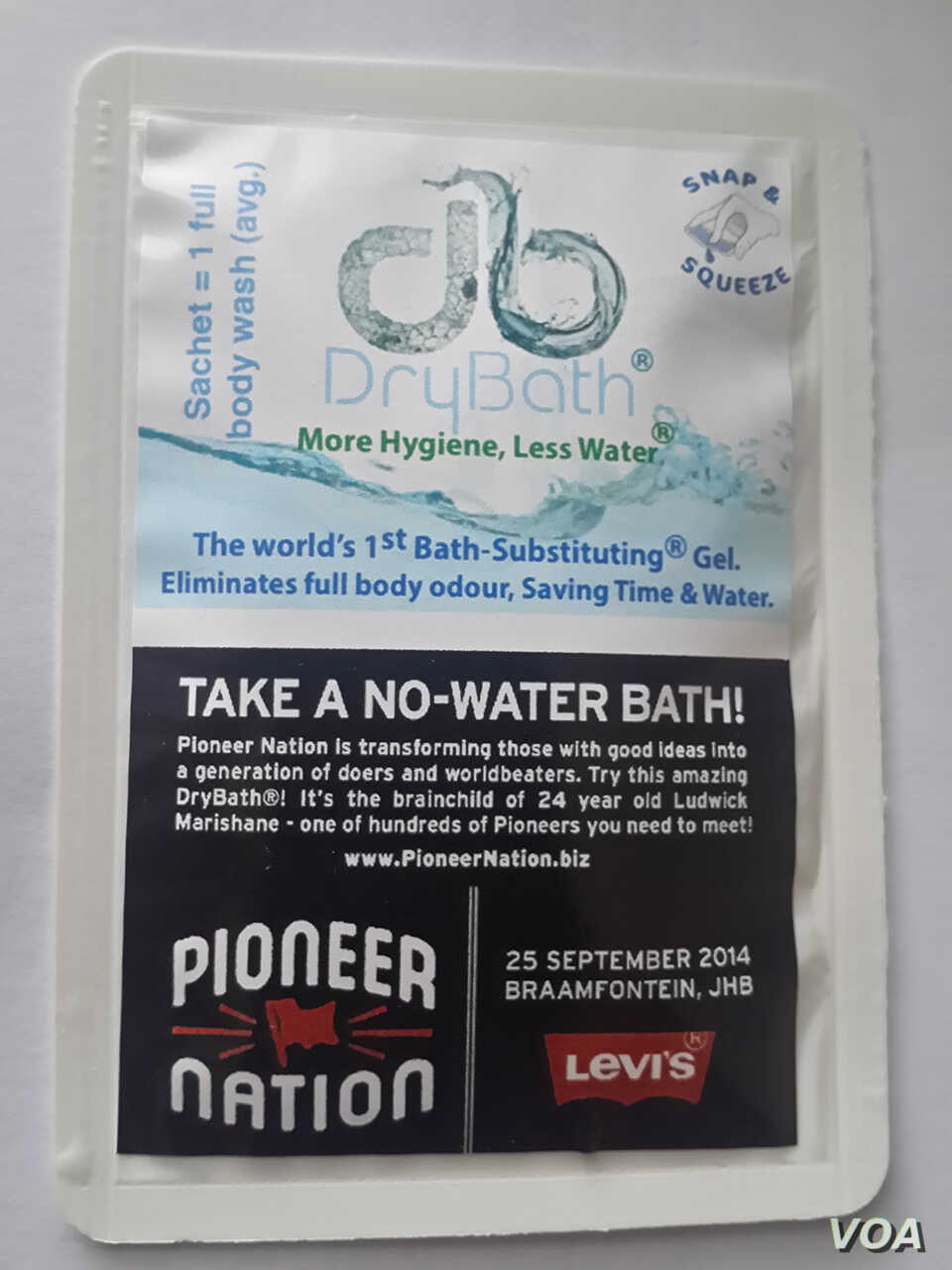The DryBath gel is available in a sachet, and Ludwick Marishane says 15 ml are enough to wash one's entire body. (Courtesy - Ludwick Marishane)