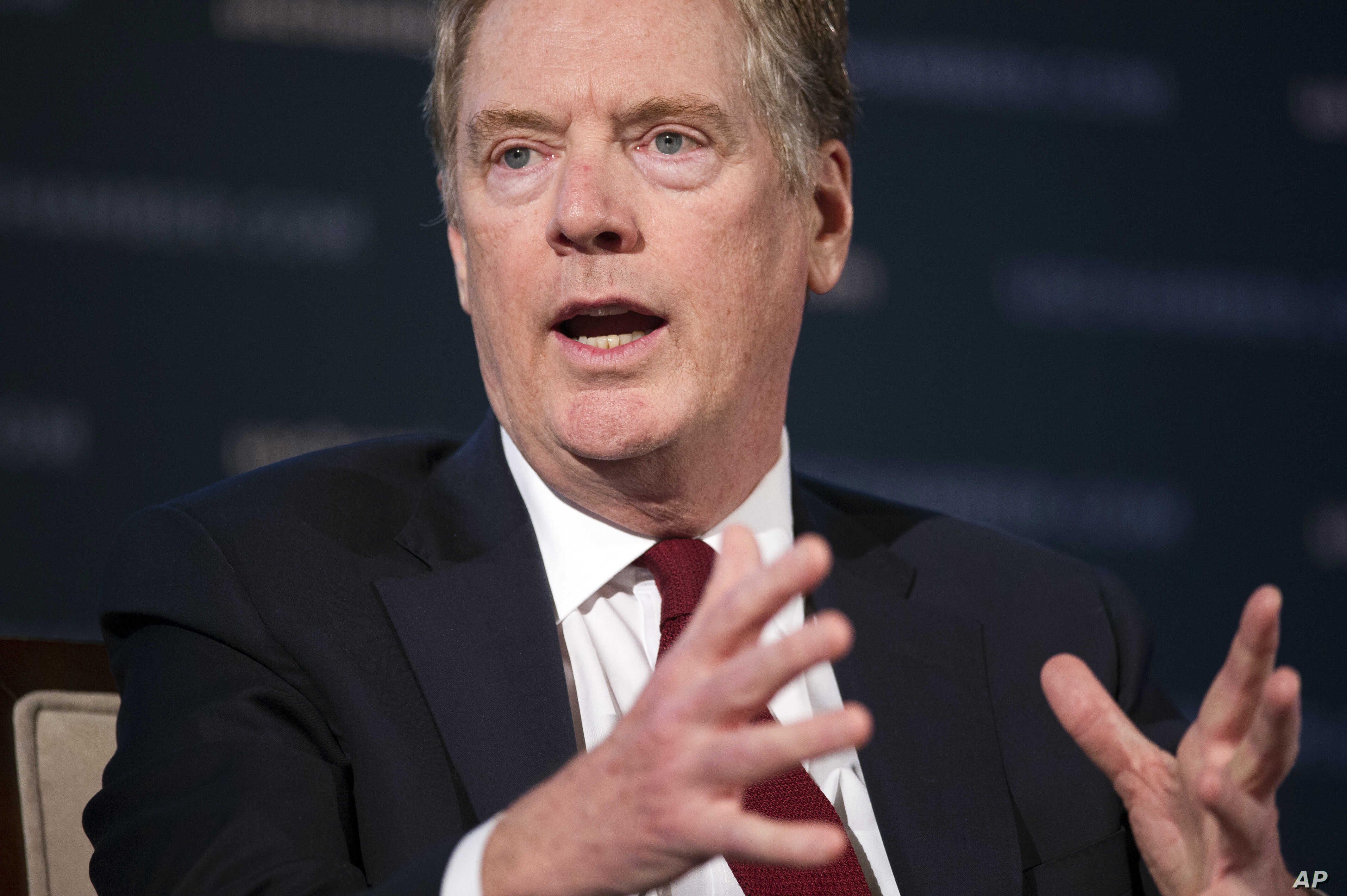 U.S. Trade Representative Robert Lighthizer speaks at the 9th China Business Conference at the U.S. Chamber of Commerce in Washington, May 1, 2018.