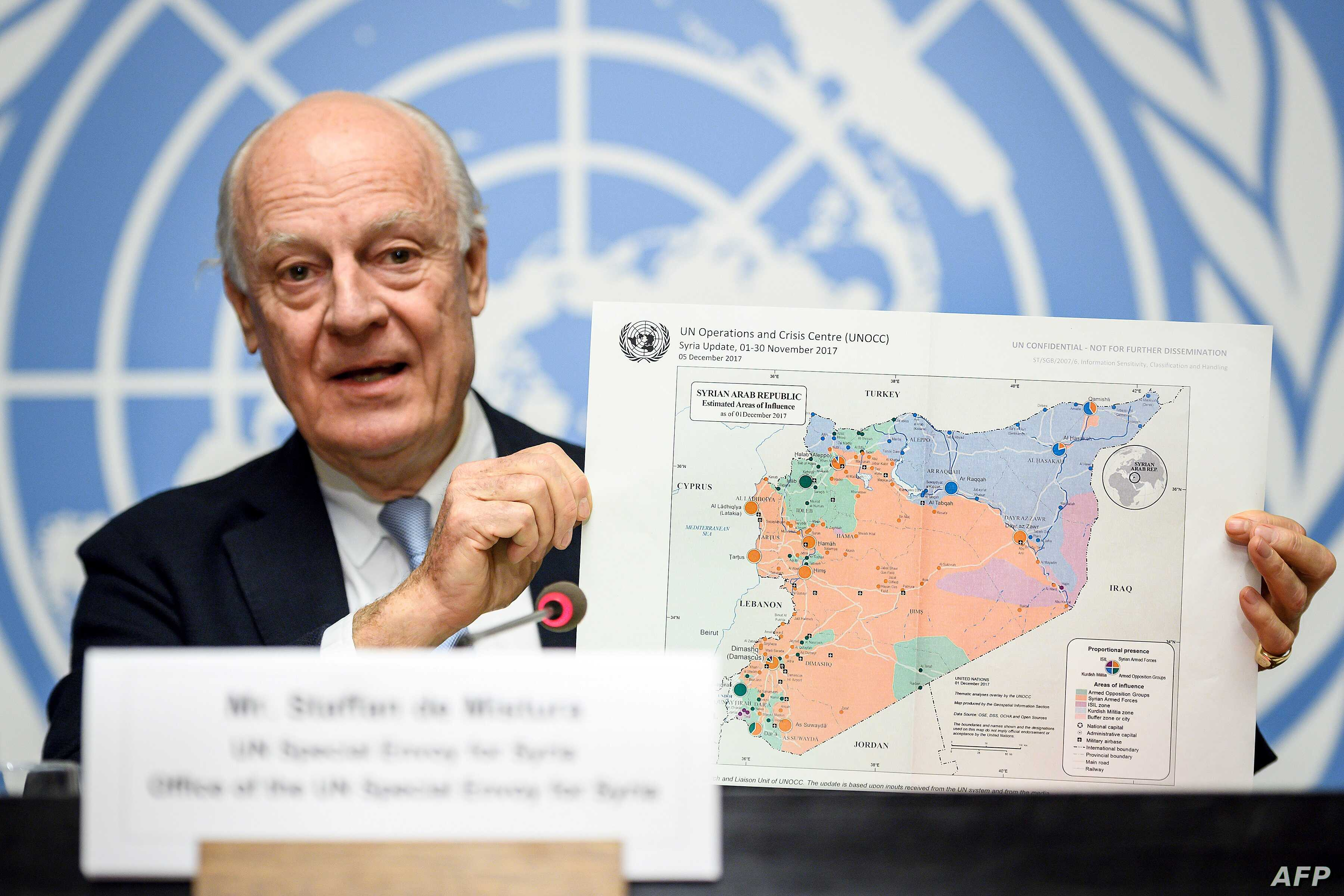 FILE - U.N. Special Envoy for Syria Staffan de Mistura gives a press conference closing a round of Syria peace talks at the European headquarters of the United Nations offices in Geneva, Dec. 14, 2017.
