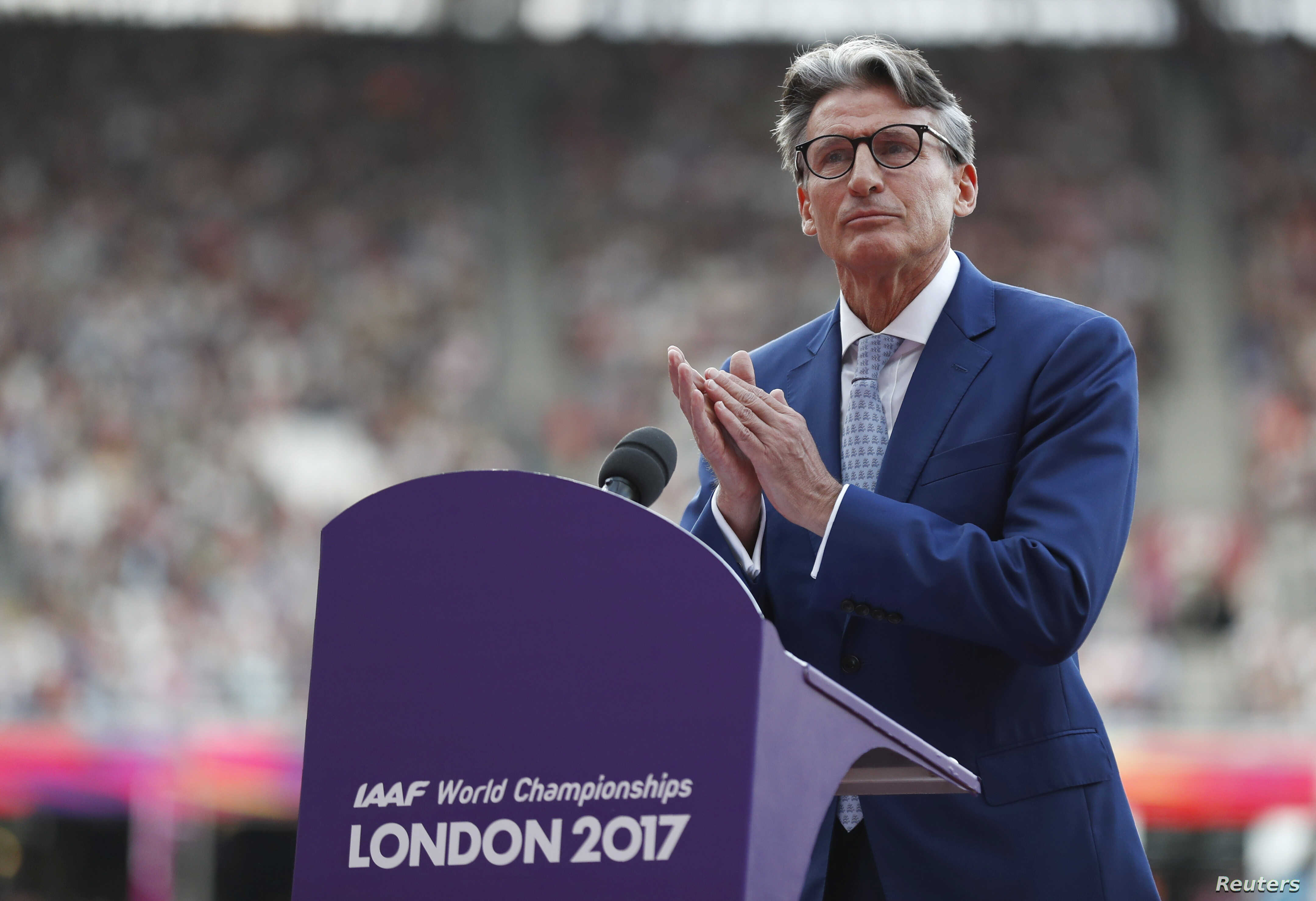 President of the International Association of Athletics Federations Sebastian Coe delivers a speech during the opening ceremony in London of the World Athletics Championships, Aug. 4, 2017.