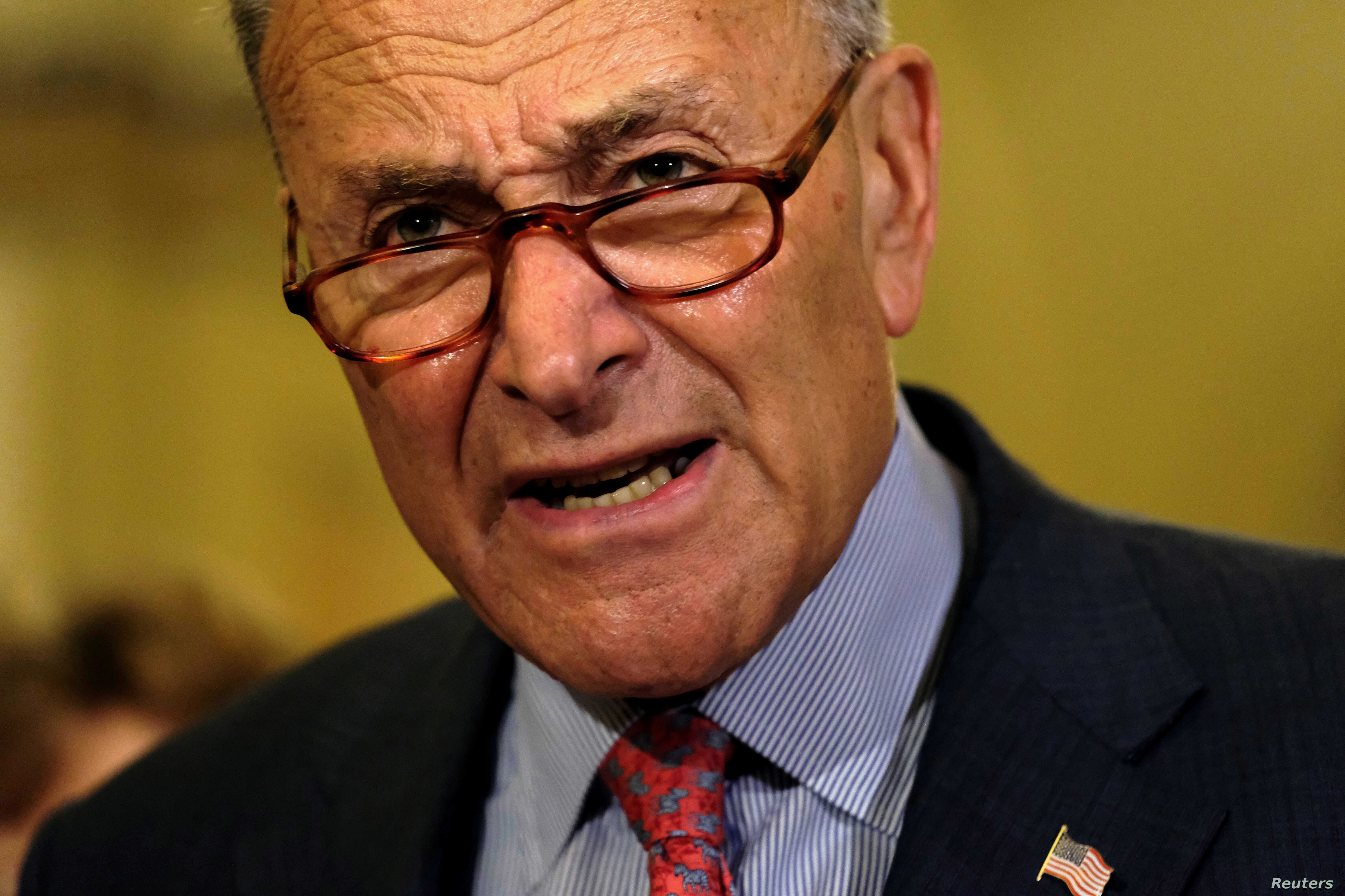 U.S. Senate Minority Leader Chuck Schumer (D-NY) speaks to reporters at the Capitol as fallout continued over U.S. President Donald Trump's Helsinki summit with Russian President Vladimir Putin, in Washington, U.S., July 17, 2018.