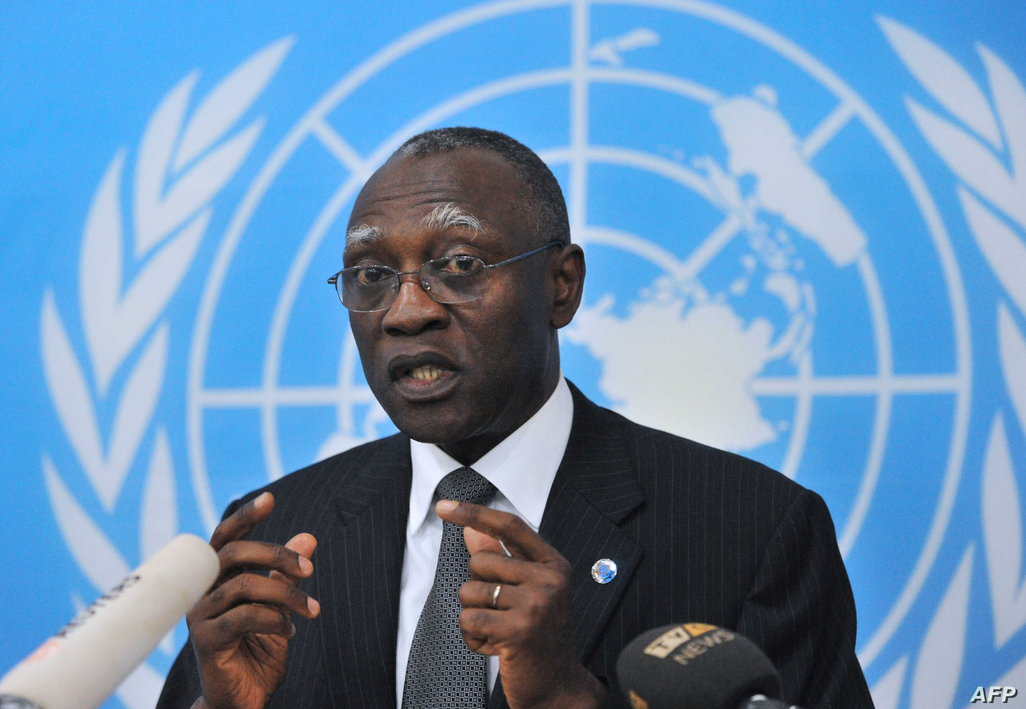 General Babacar Gaye, the UN secretary-general's representative to Central African Republic, speaks on Feb. 6, 2014, at the BINUCI (United Nations Integrated Peacebuilding Office in the Central African Republic) headquarters in Bangui.