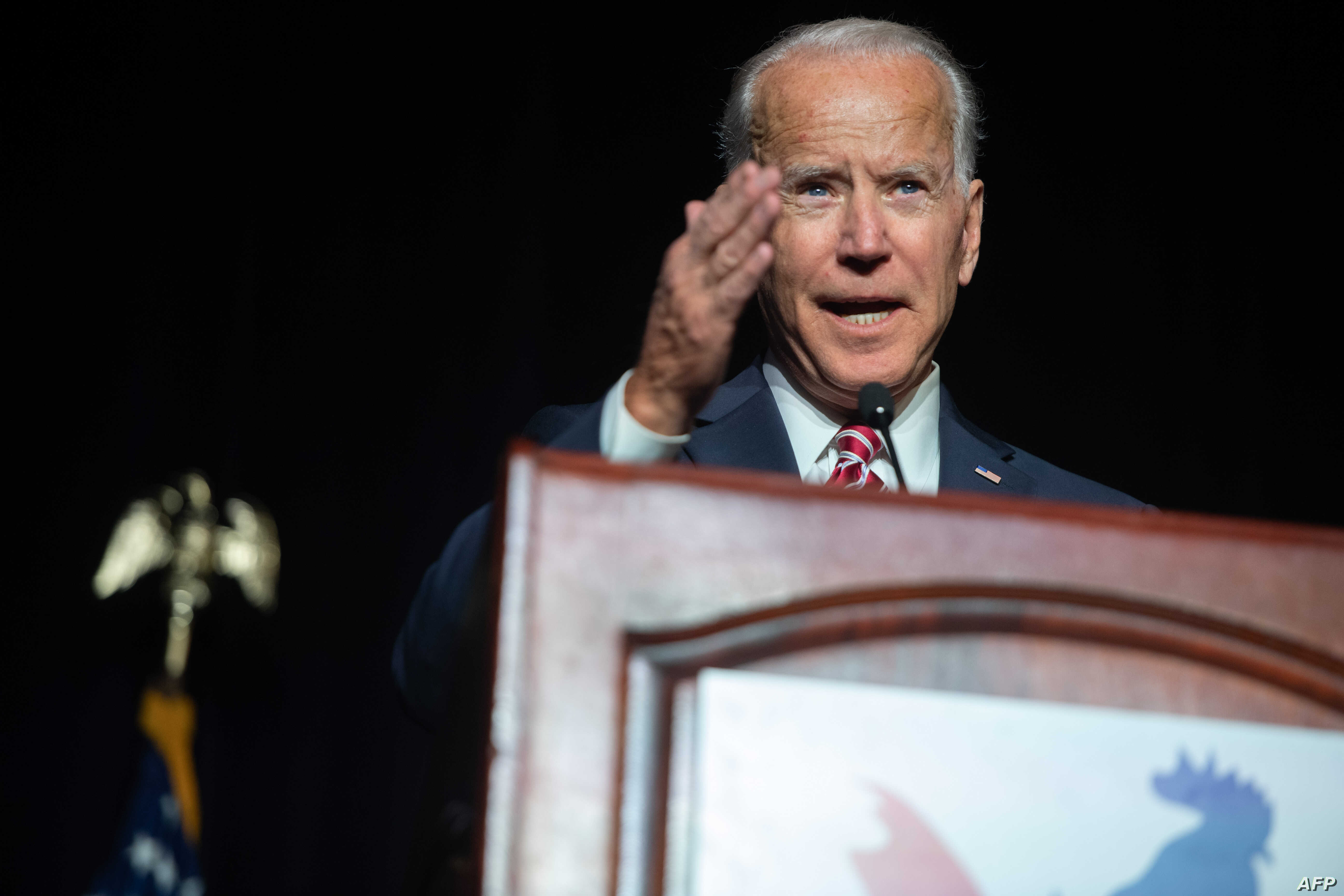 Joe Biden speaks during the First State Democratic Dinner in Dover, Delaware, March 16, 2019. The former vice president stopped just short of saying he's running for president in 2020.