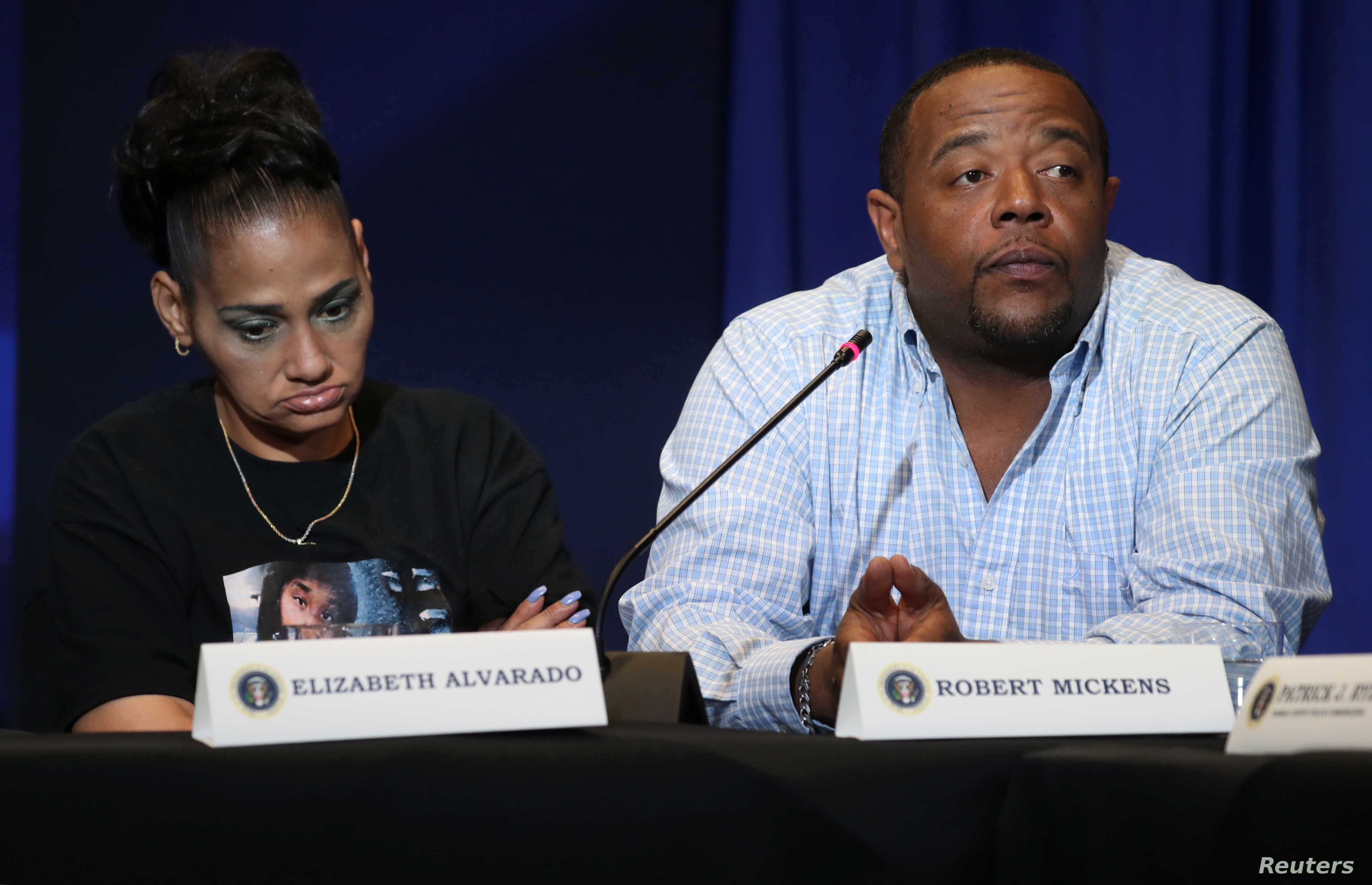 Elizabeth Alvarado and Robert Mickens, whose daughter Nisa Mickens was allegedly killed by MS-13 gang members, participate in a round-table on immigration and the gang MS-13 attended by U.S. President Donald Trump at the Morrelly Homeland Security Ce...
