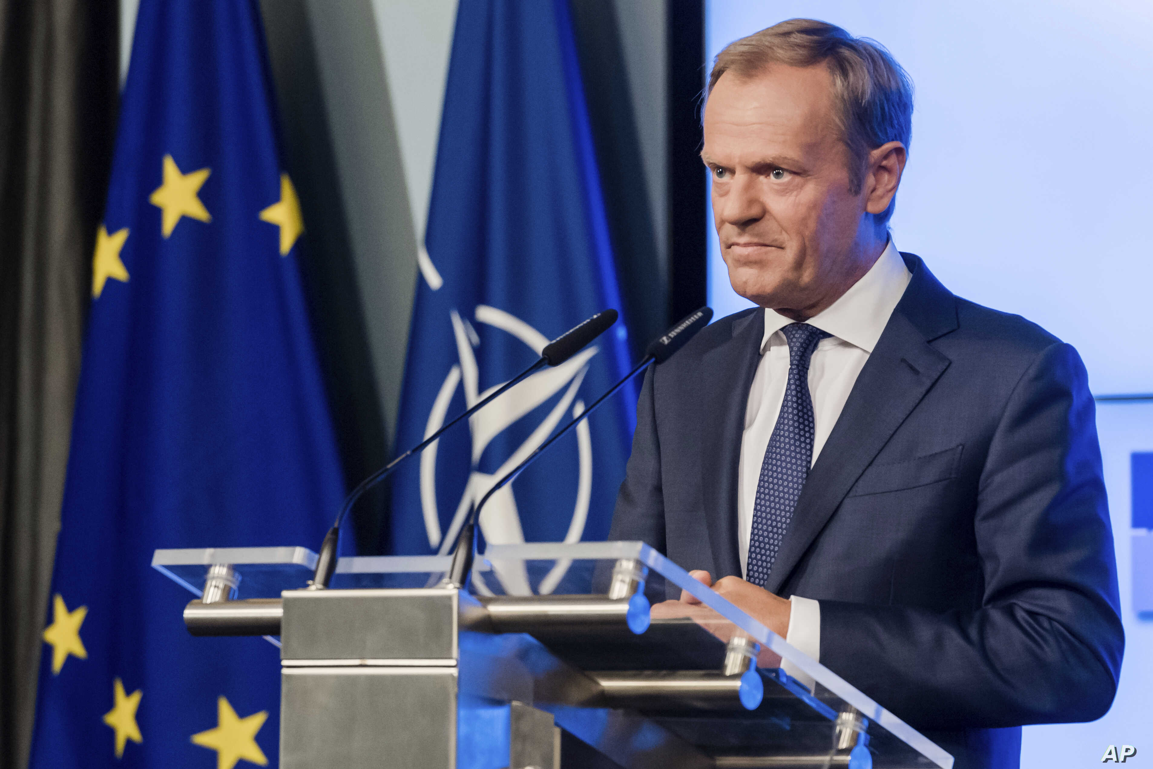 European Council President Donald Tusk addresses the media in Brussels, Belgium, July 10, 2018.