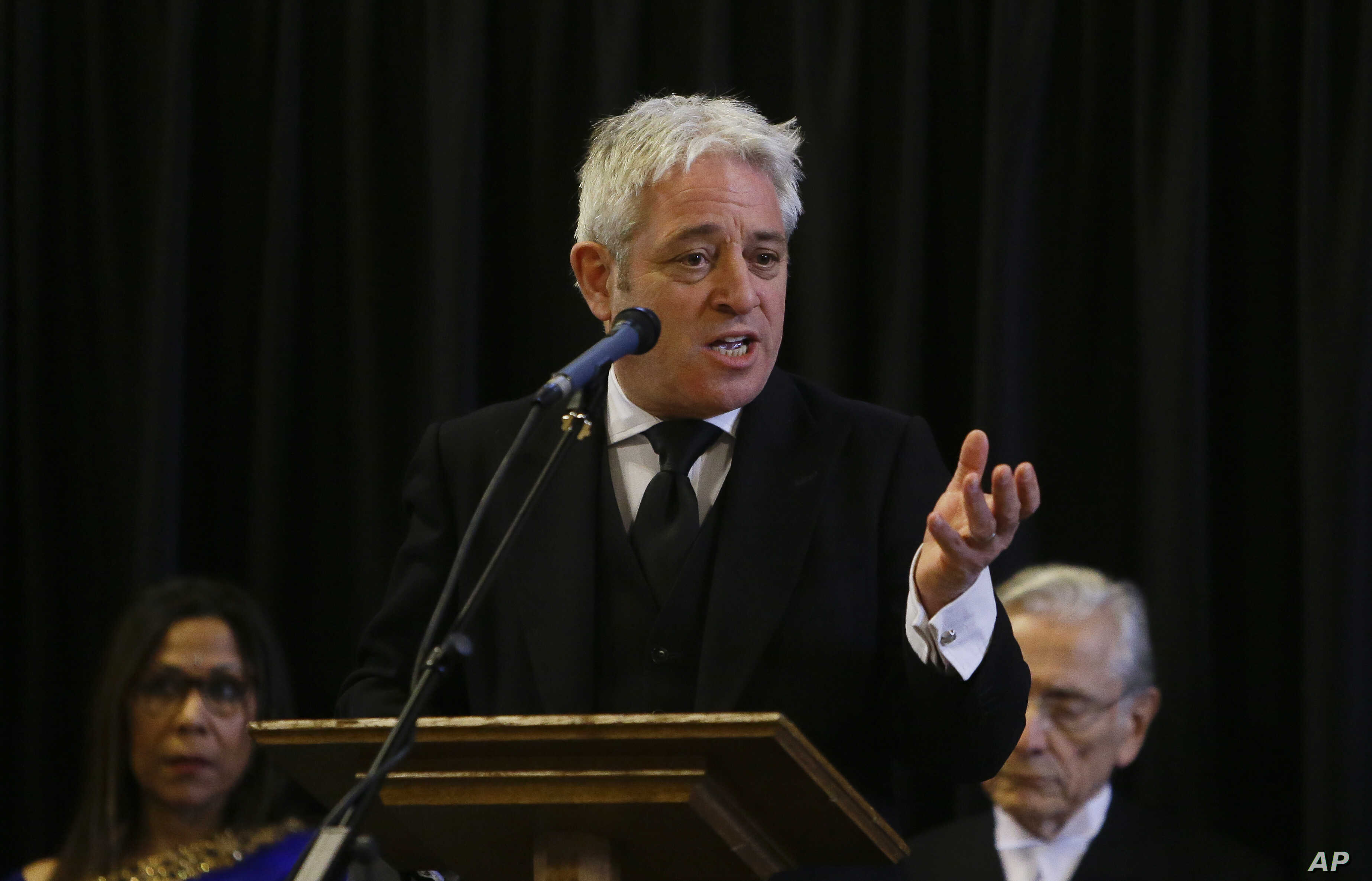 FILE - John Bercow, Speaker of the House of Commons, speaks at Westminster Hall inside the Palace of Westminster in London, March 22, 2018.