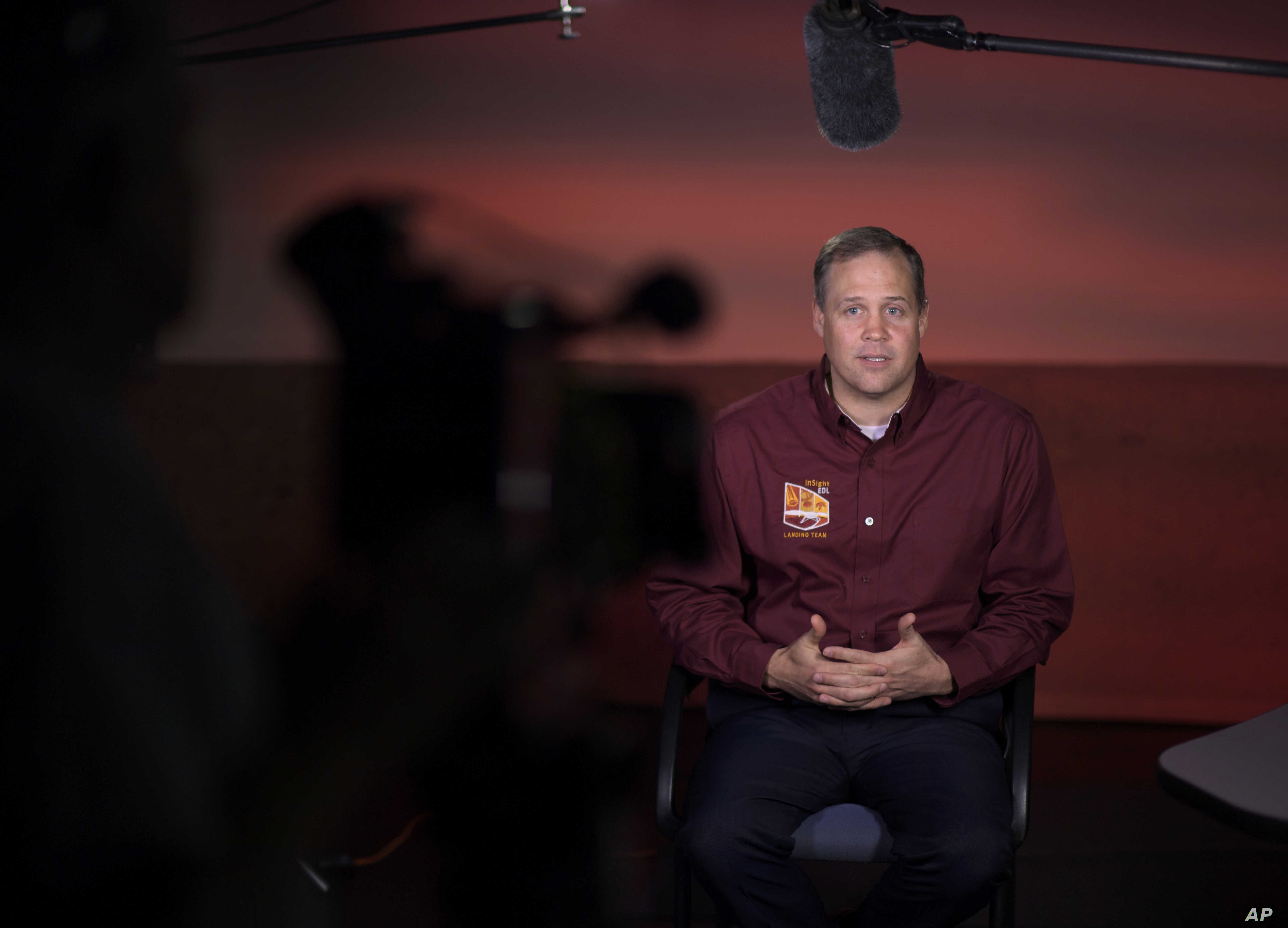 NASA Administrator Jim Bridenstine talks to multiple media outlets about Mars InSight, Monday, Nov. 26, 2018, at NASA's Jet Propulsion Laboratory in Pasadena, California.