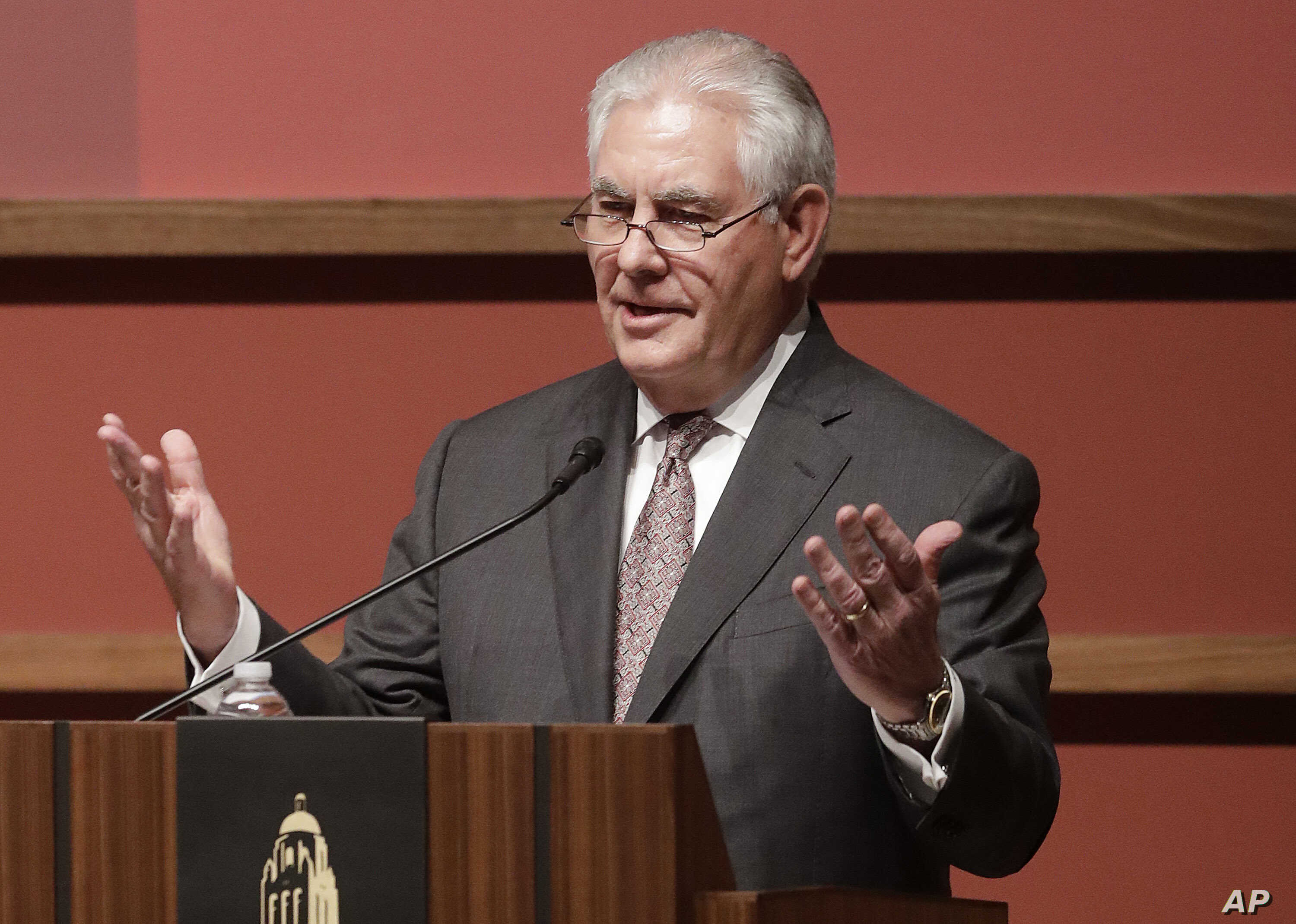 U.S. Secretary of State Rex Tillerson speaks to the Hoover Institution at Stanford University in Stanford, Calif., Wednesday, Jan. 17, 2018.