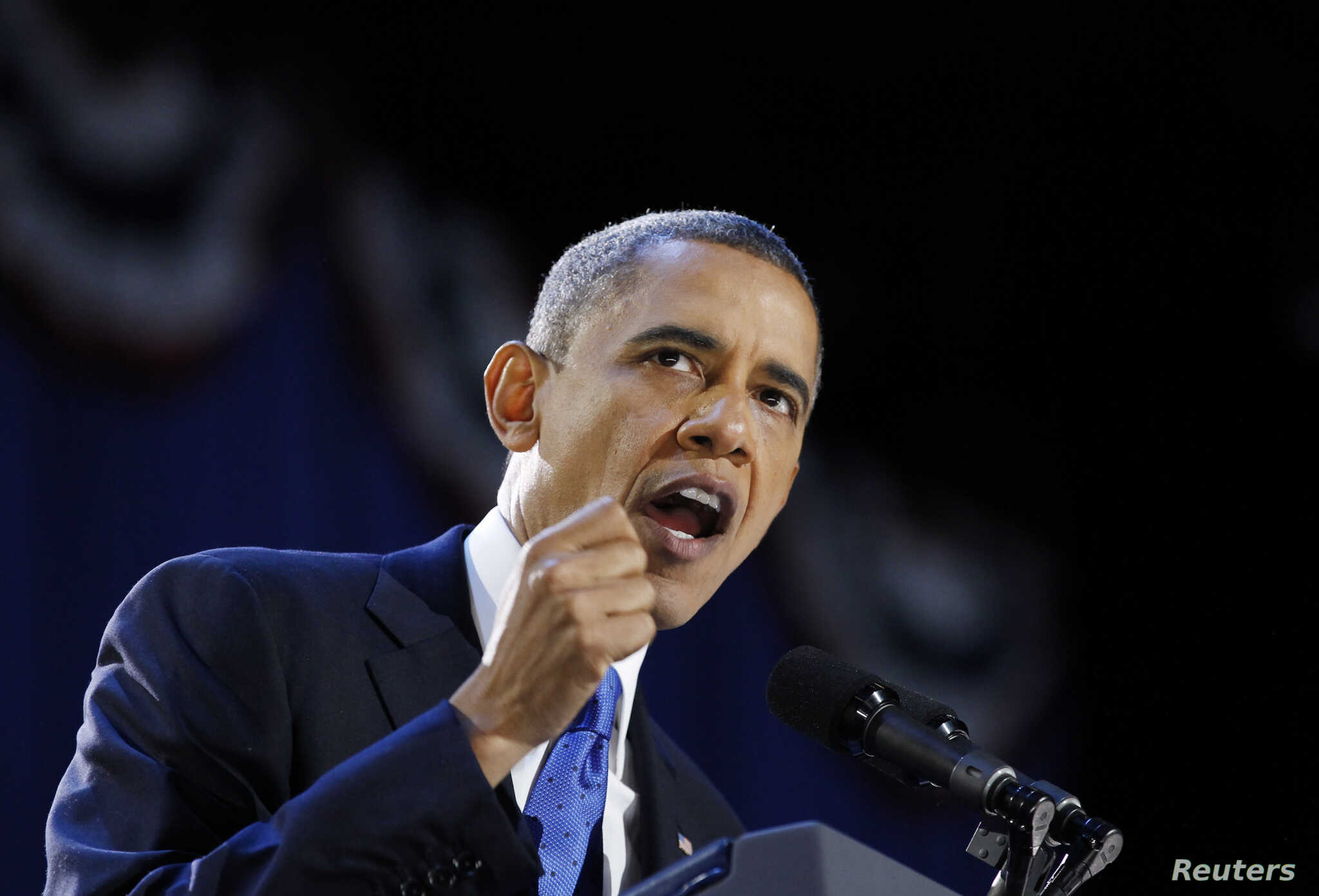 U.S. President Barack Obama gives his election night victory speech in Chicago, November 7, 2012.