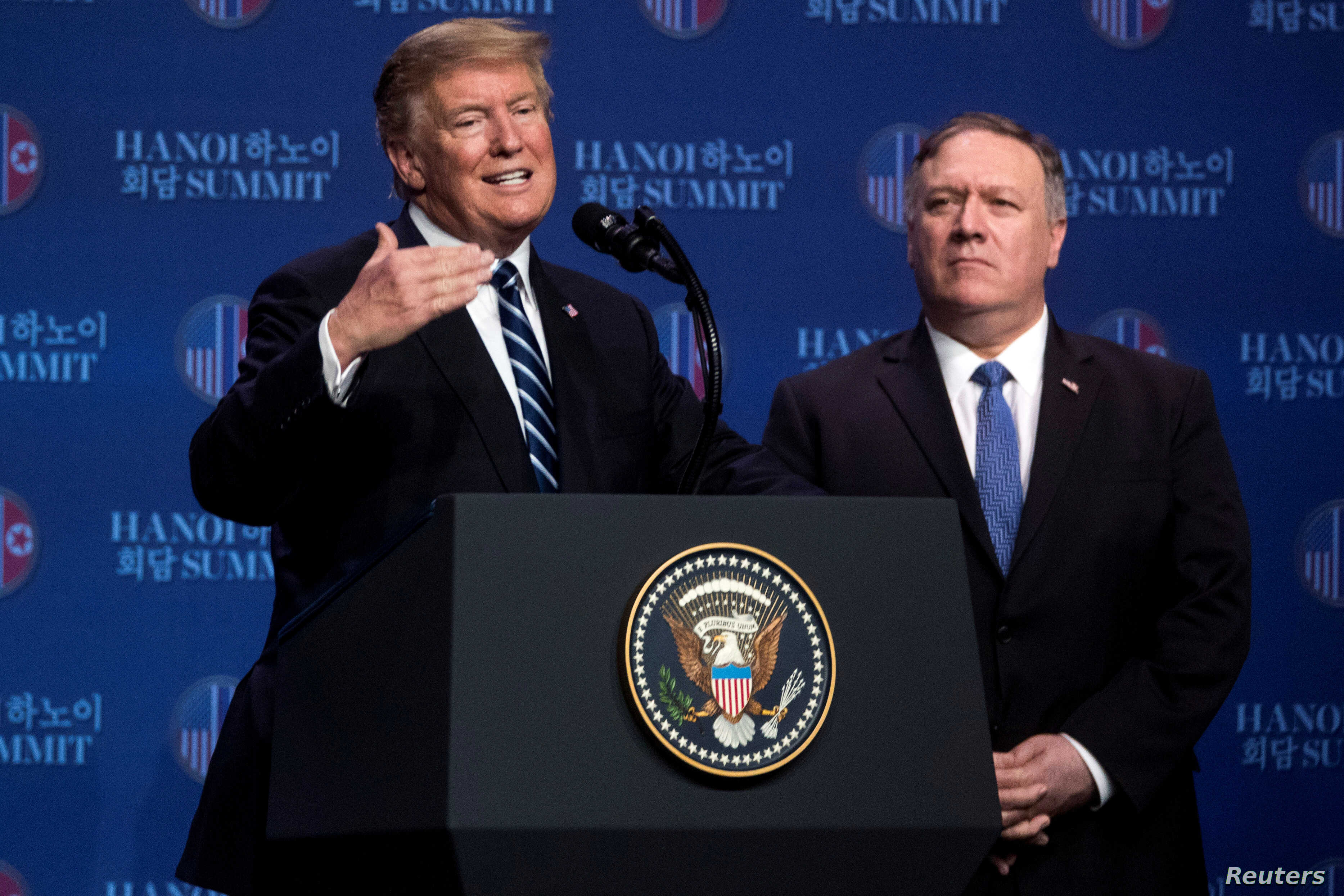U.S. President Donald Trump accompanied by U.S. Secretary of State Mike Pompeo speaks at a news conference at the JW Marriott Hanoi, following talks with North Korean leader Kim Jong Un in Hanoi, Vietnam, Feb. 28, 2019.