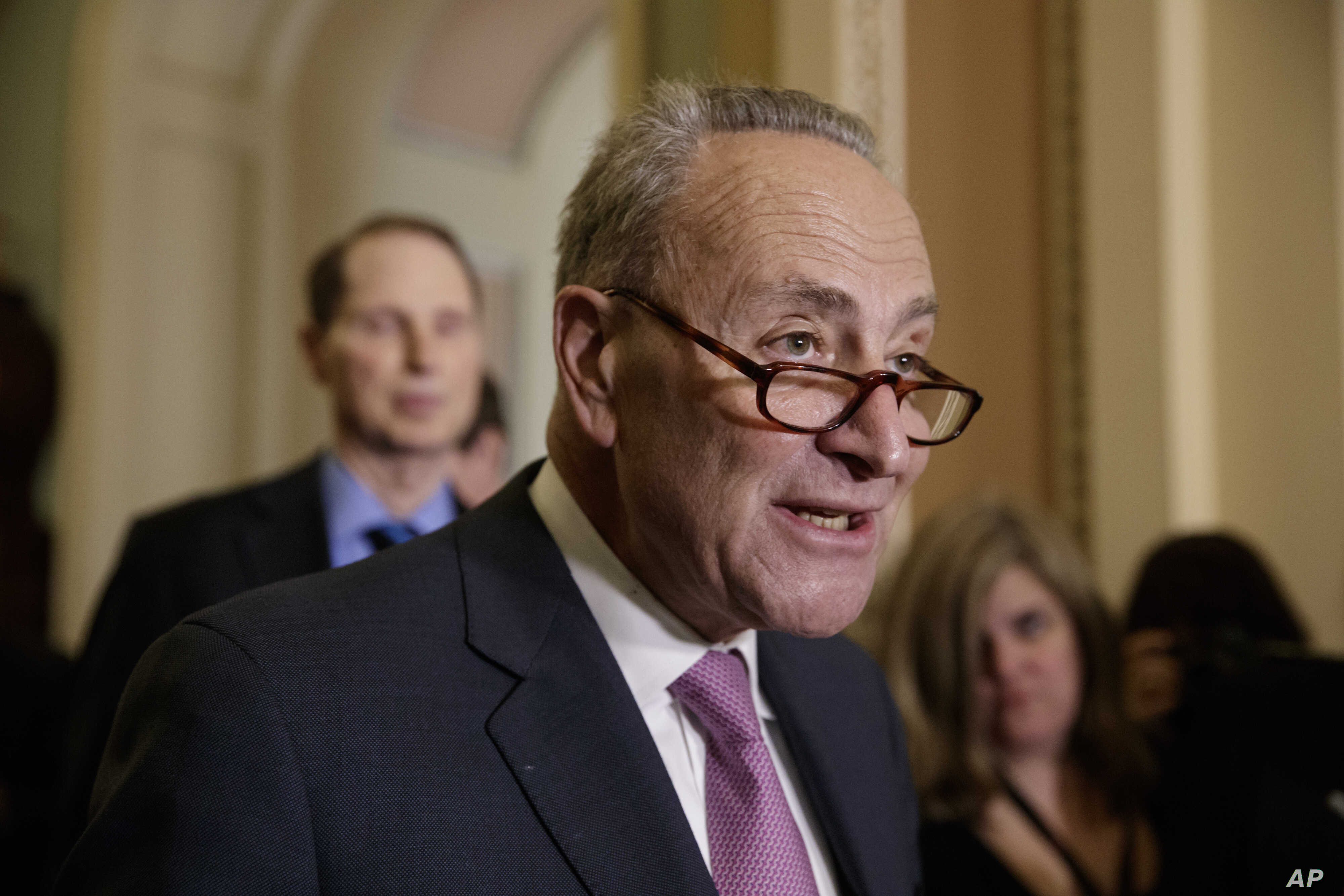 Senate Minority Leader Chuck Schumer of N.Y., criticizes the Republican health care plan designed to replace Obamacare, March 7, 2017, during a news conference on Capitol Hill.